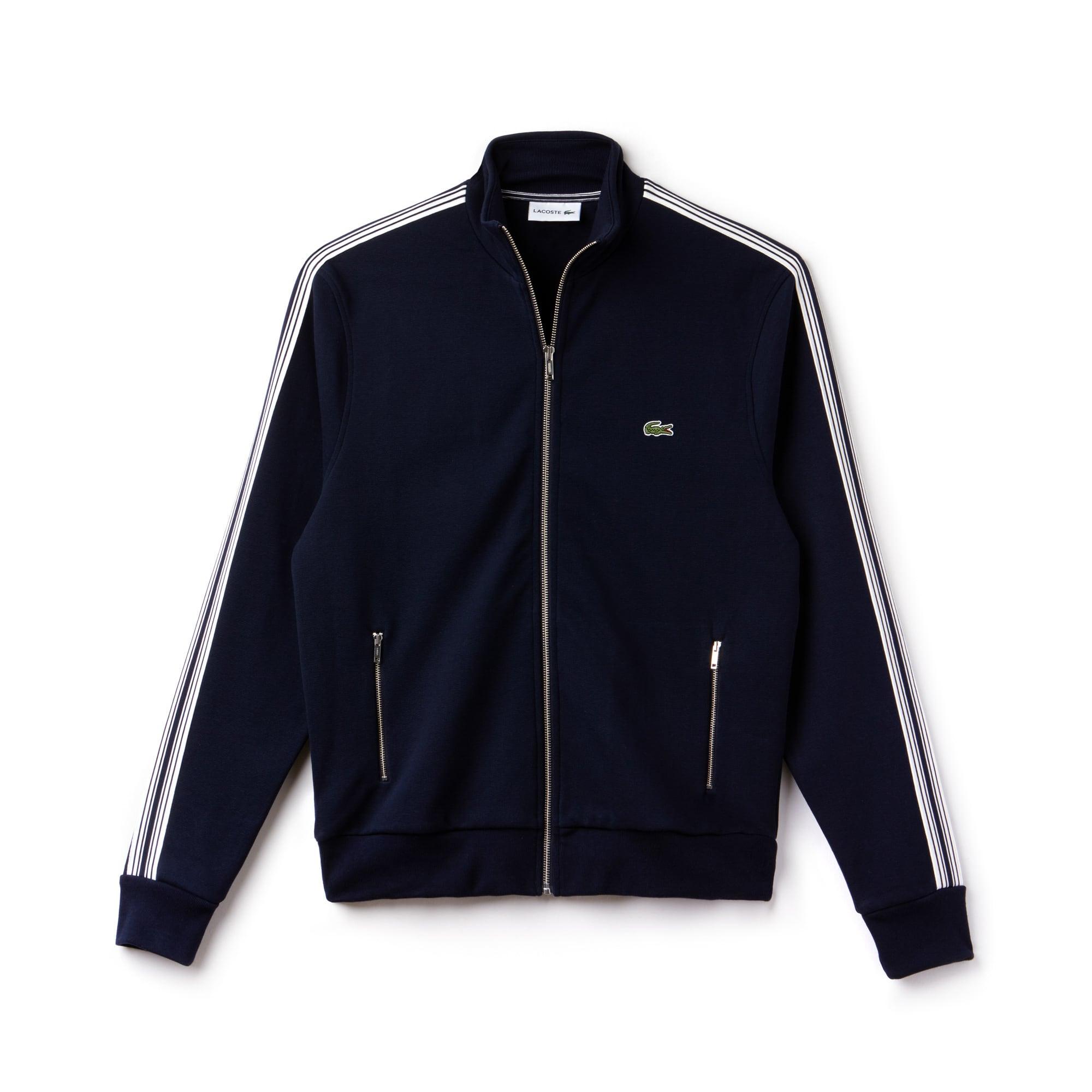 Sweatshirt com fecho de correr em algodão milano com faixas a contrastar
