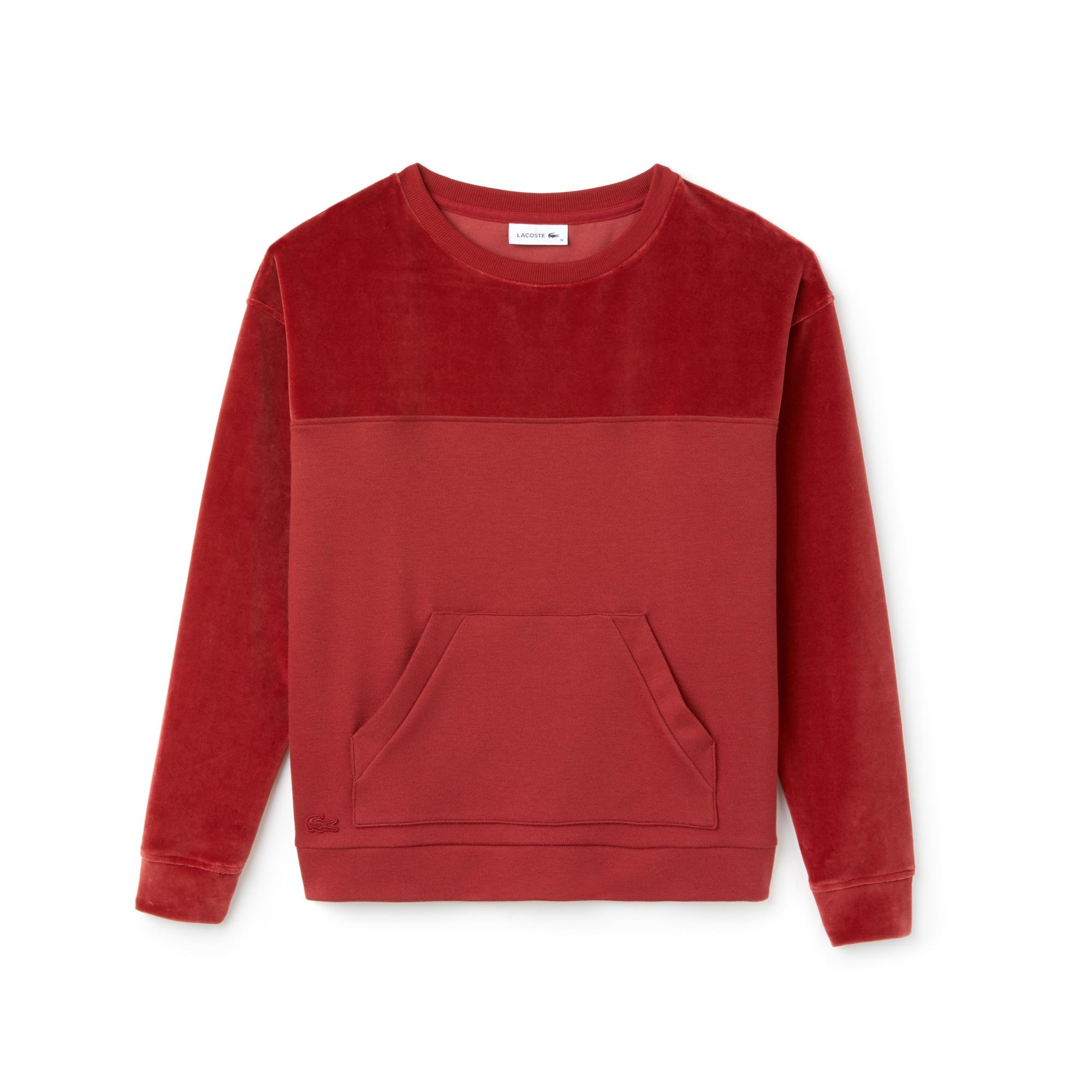 Sweatshirt decote redondo em jersey e veludo unicolor