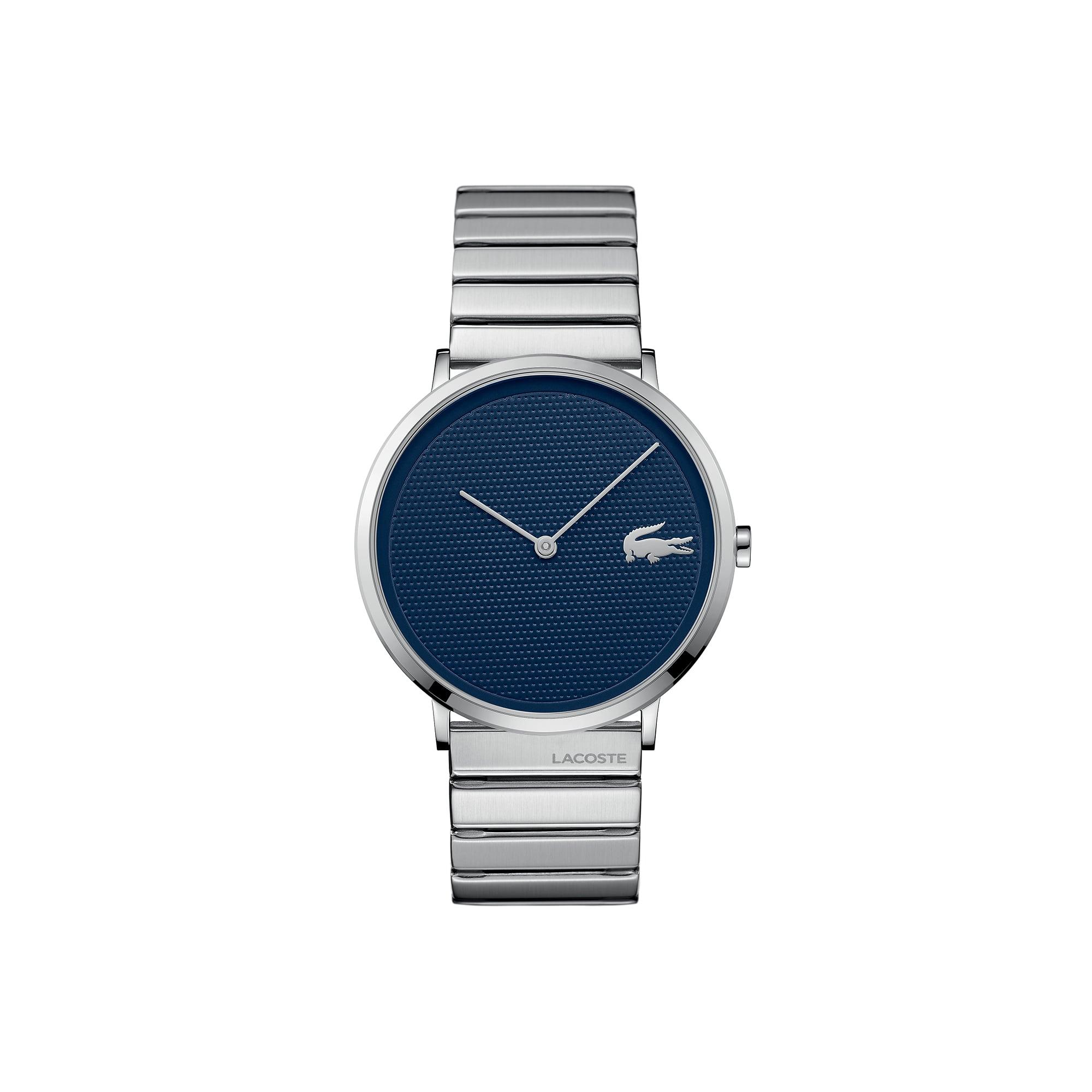 Relógio ultra slim Moon de homem com bracelete de aço inoxidável