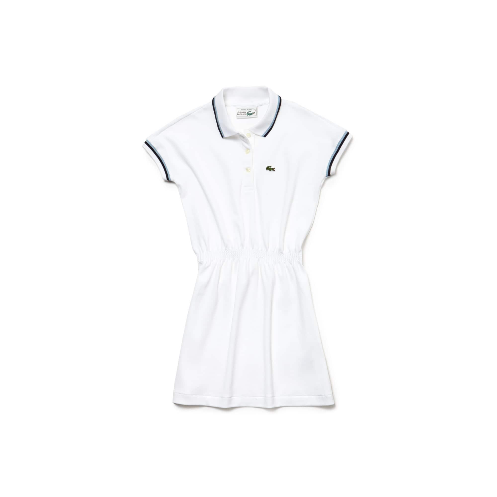 Vestido polo Menina Lacoste em piqué stretch Edição limitada Aniversário 85 anos Reedição anos 80