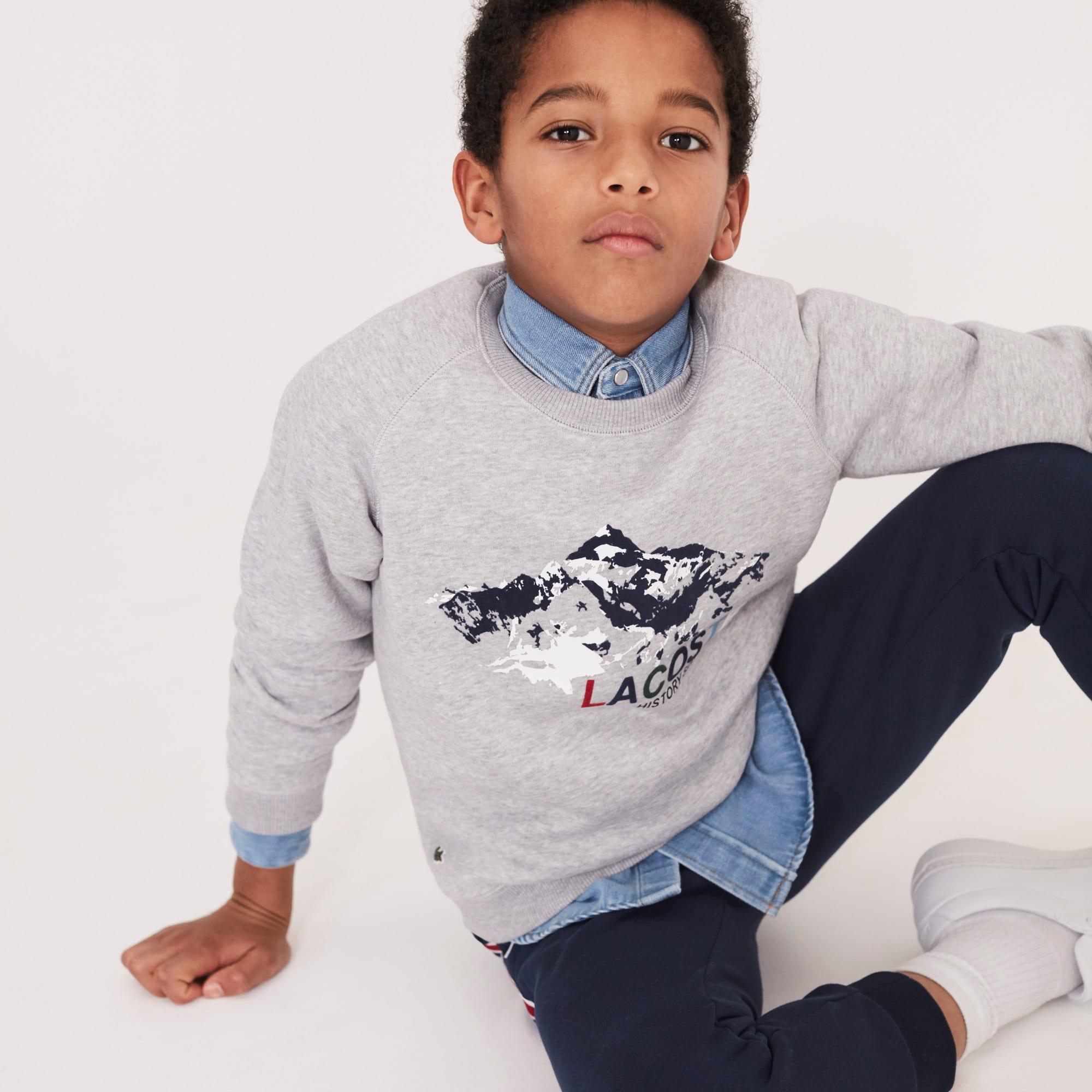 Sweatshirt decote redondo Menino em moletão com impressão