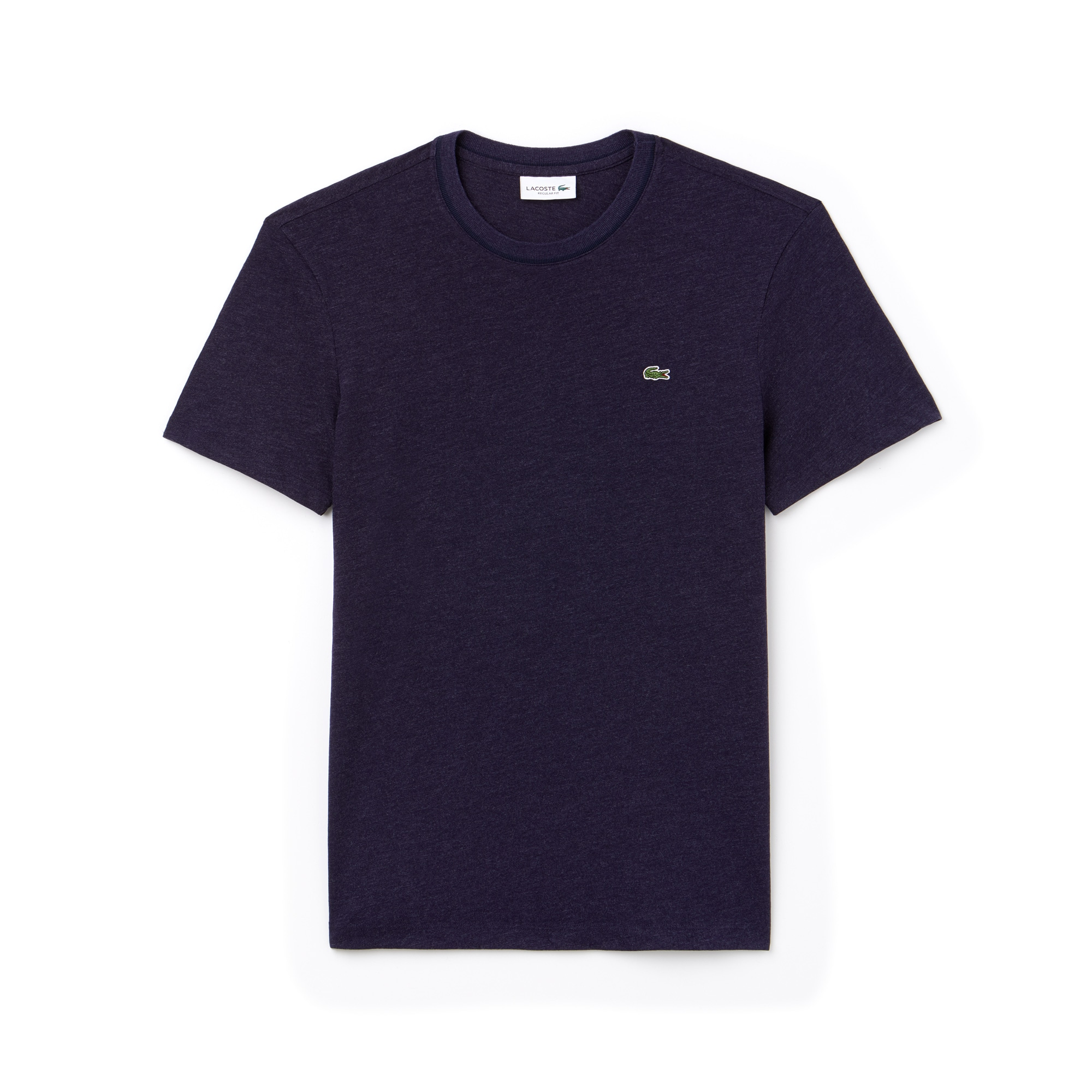 T-shirt decote redondo em jersey de algodão efeito mesclado unicolor