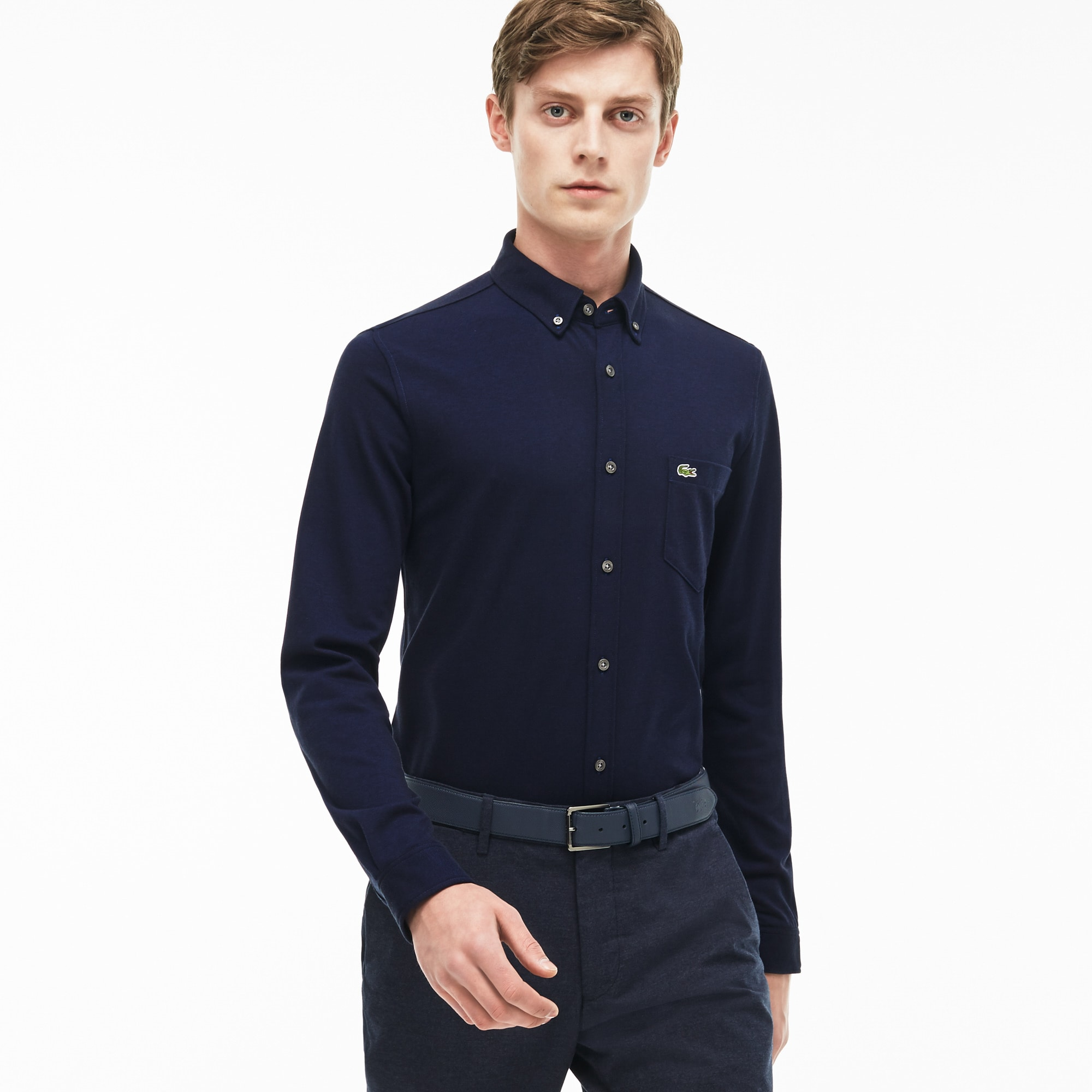Camisa Slim Fit em jersey de algodão unicolor