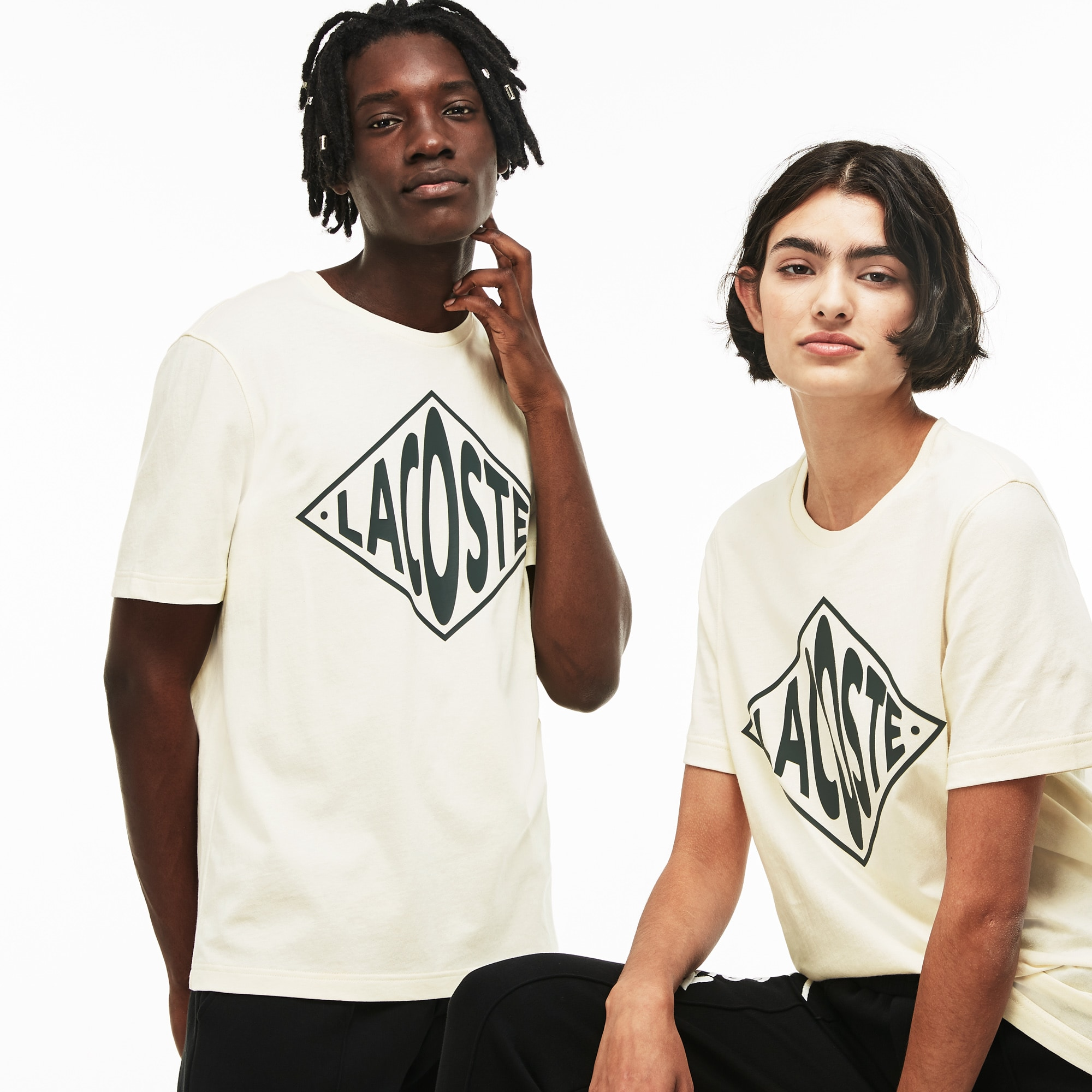 T-shirt decote redondo unissexo Lacoste LIVE em jersey com marcação em tamanho grande