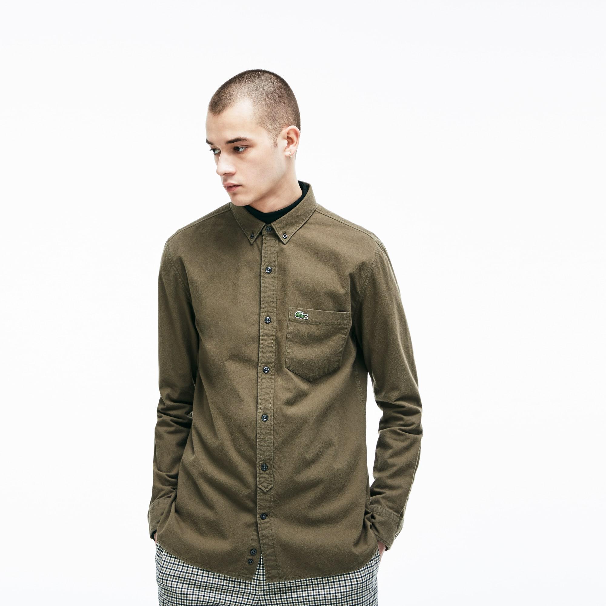 Camisa Skinny fit Lacoste LIVE em algodão oxford unicolor