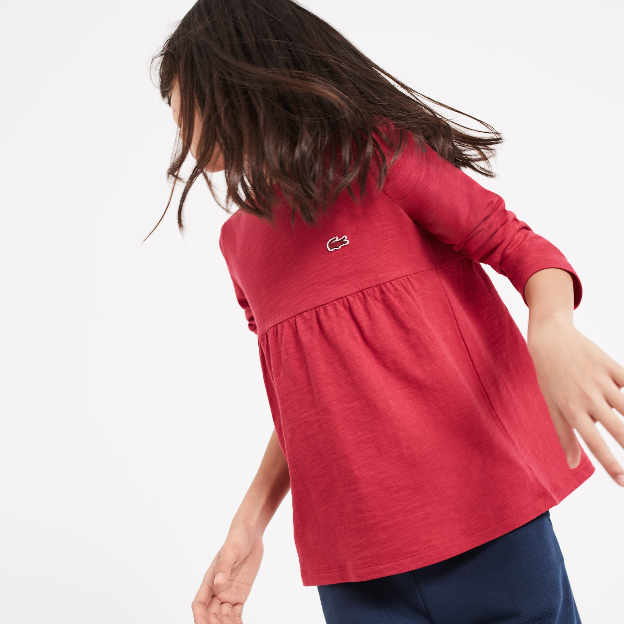 T-shirt decote redondo Menina de manga comprida em jersey de algodão unicolor