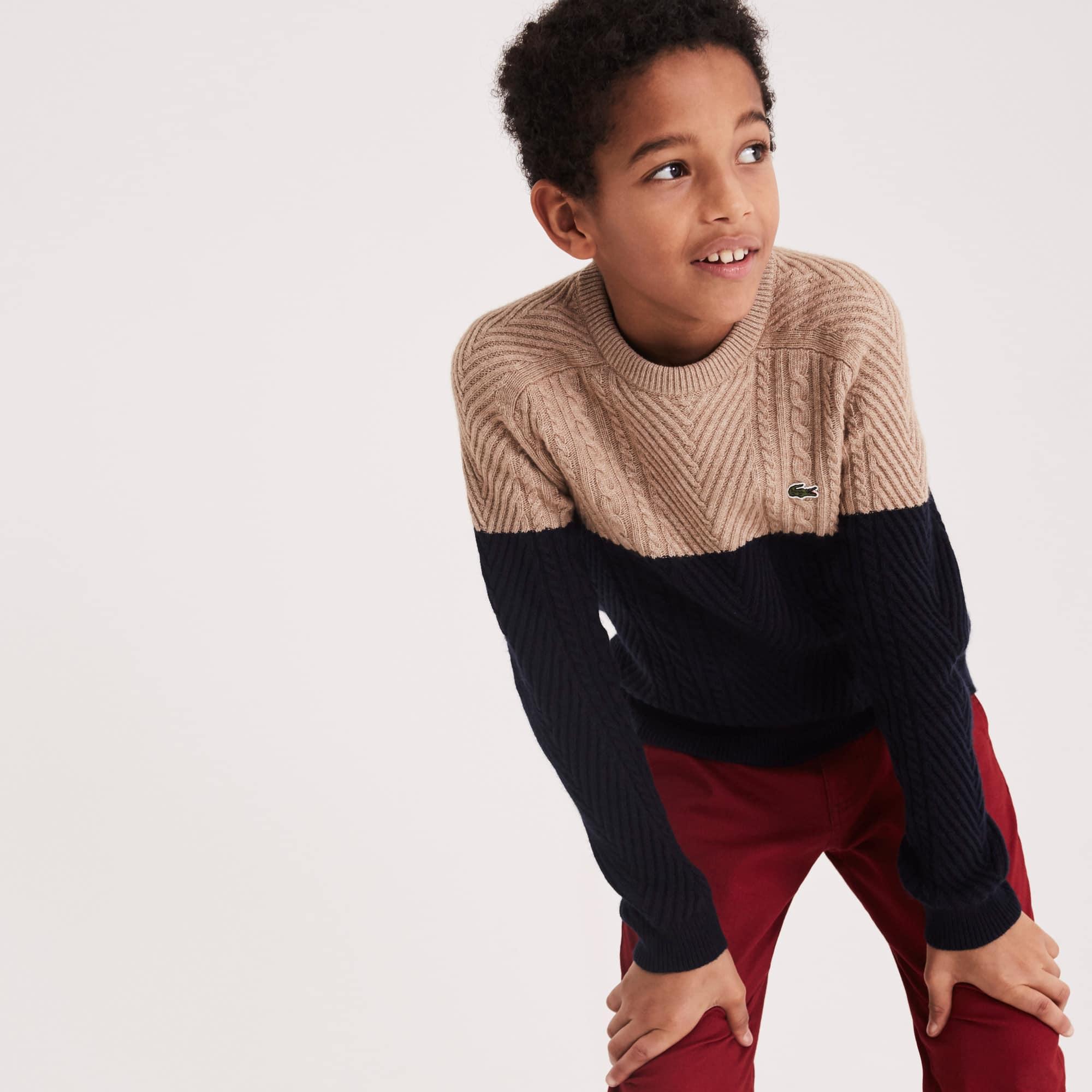 Camisola decote redondo Menino em mistura de algodão entrançado color block