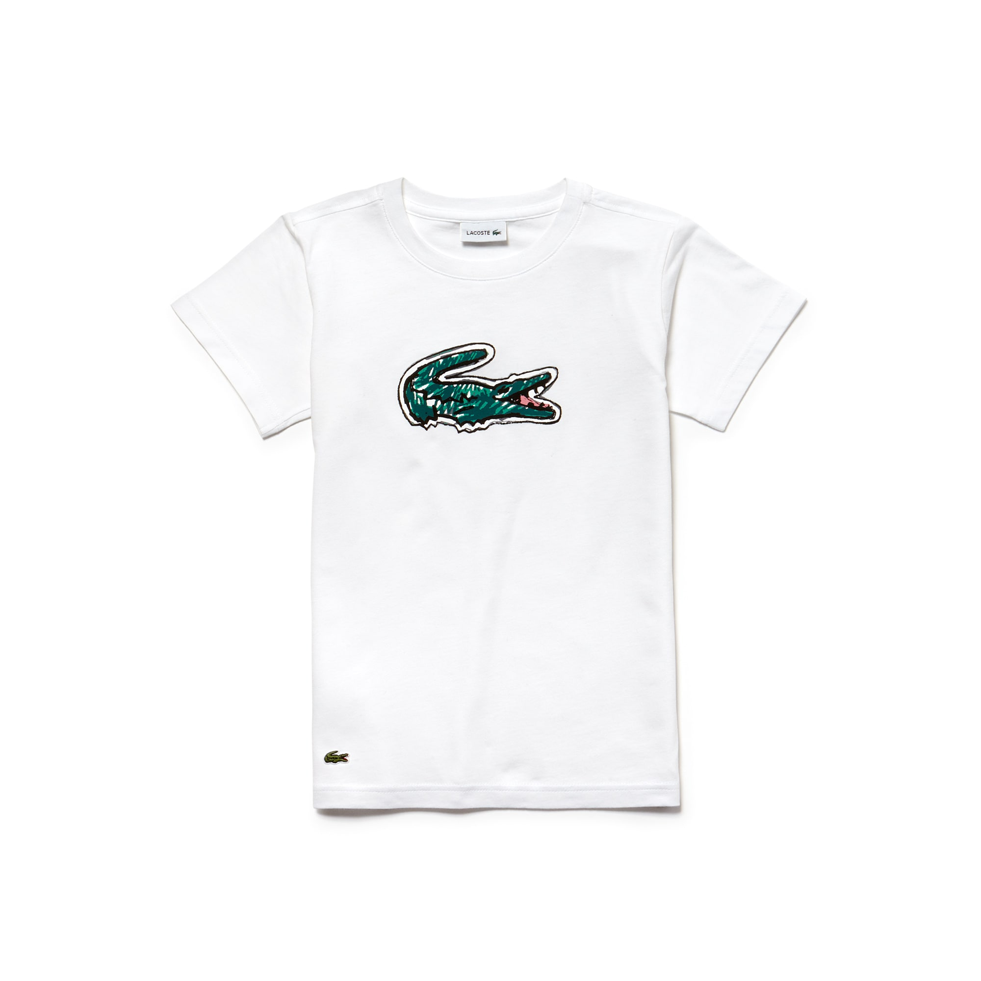 T-shirt Menino decote redondo em jersey índigo com impressão crocodilo