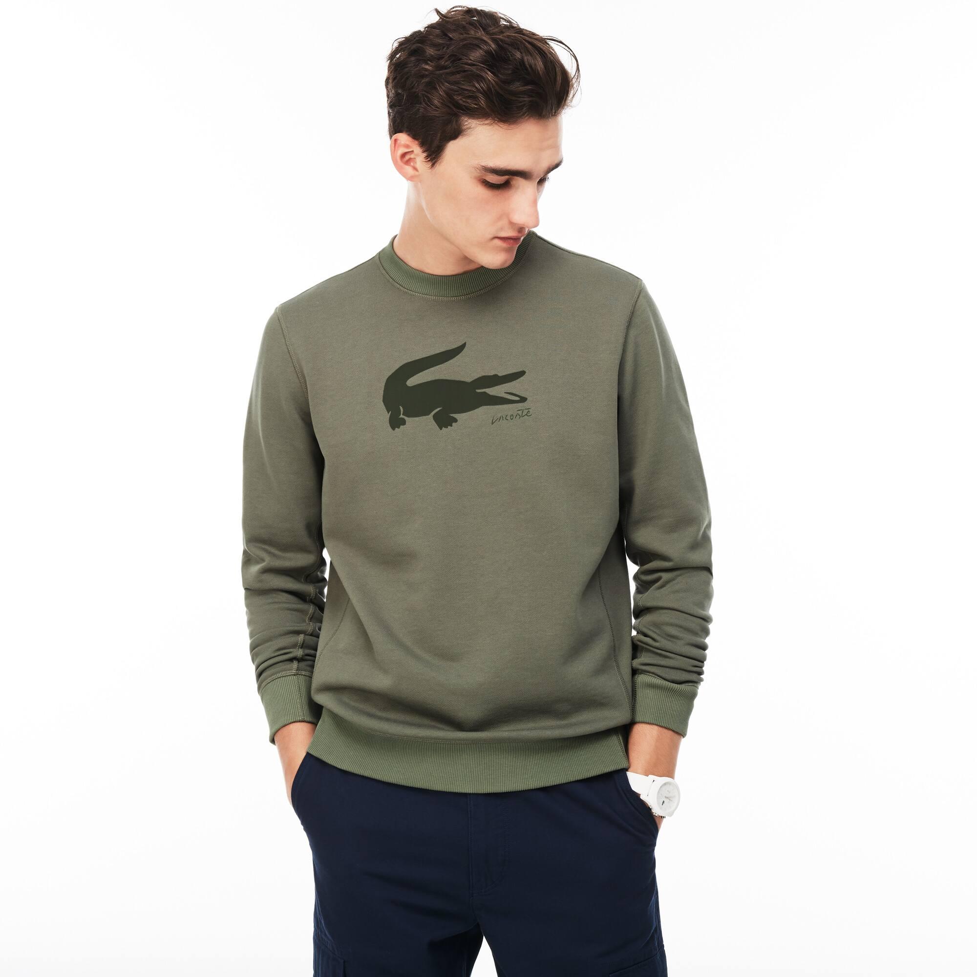 Sweatshirt decote redondo em moletão com impressão crocodilo