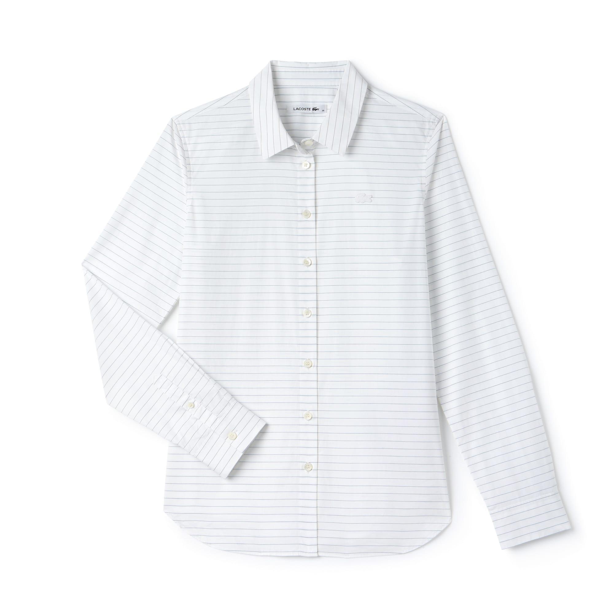 Camisa Regular Fit em popelina de algodão às riscas