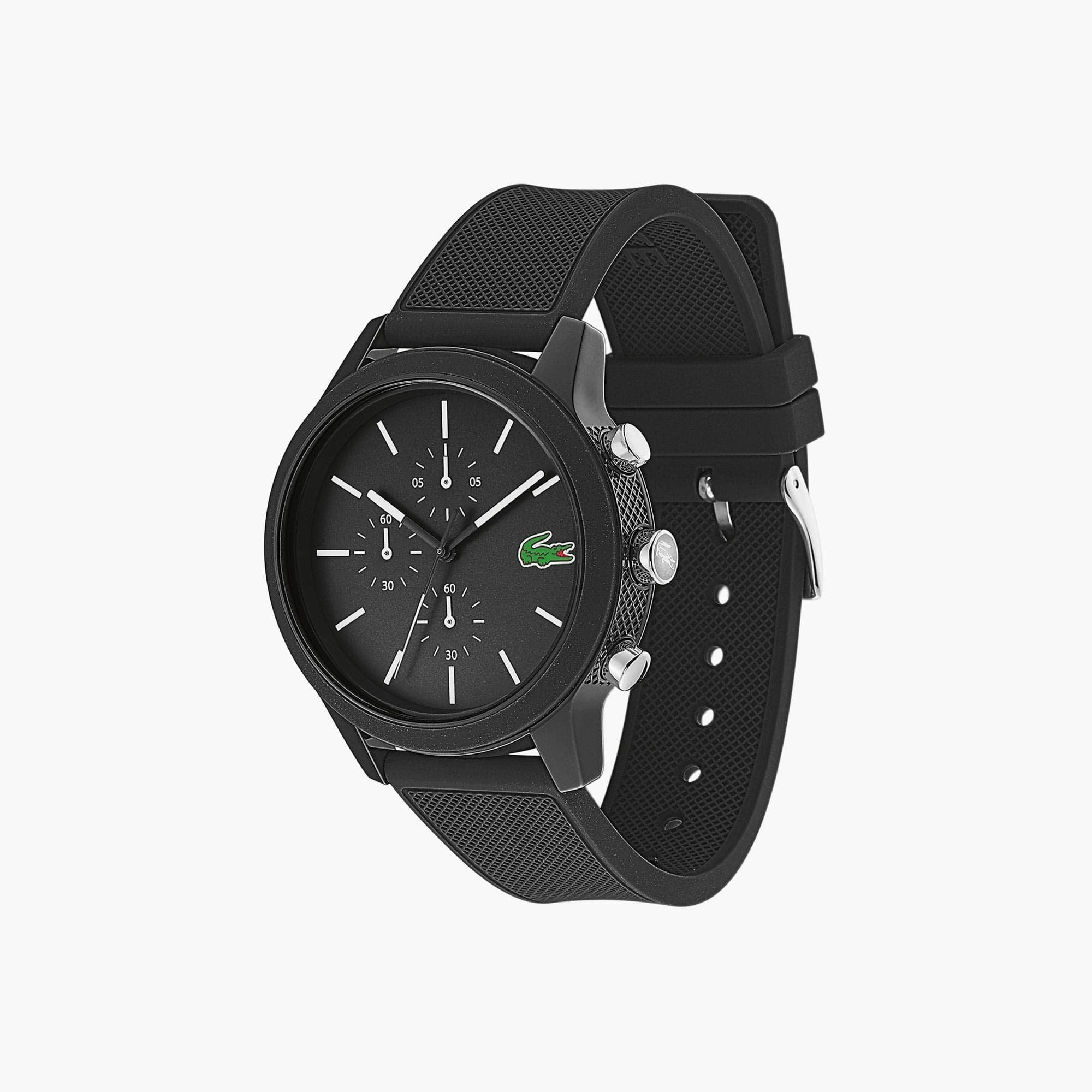 Relógio cronógrafo Lacoste 12.12 de homem com bracelete de silicone preta