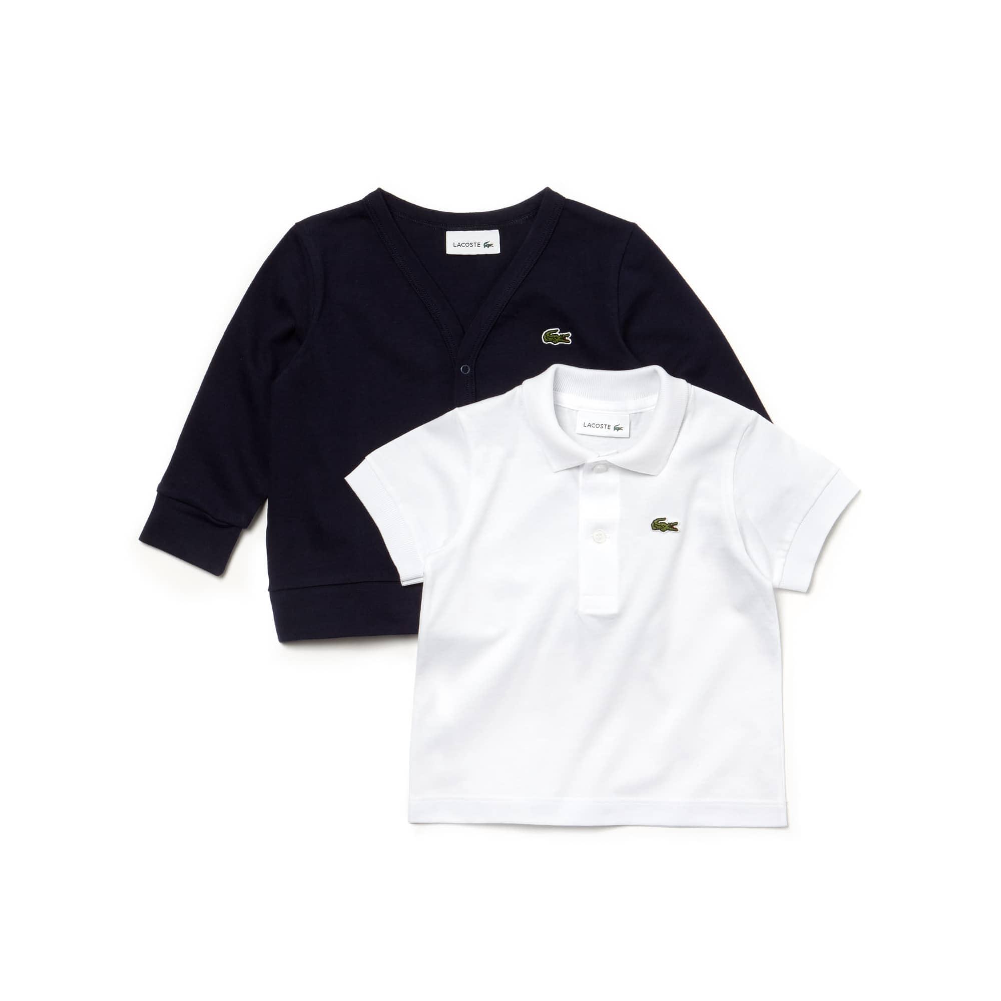 Caixa de presente Menino polo e casaco de malha em jersey de algodão unicolor