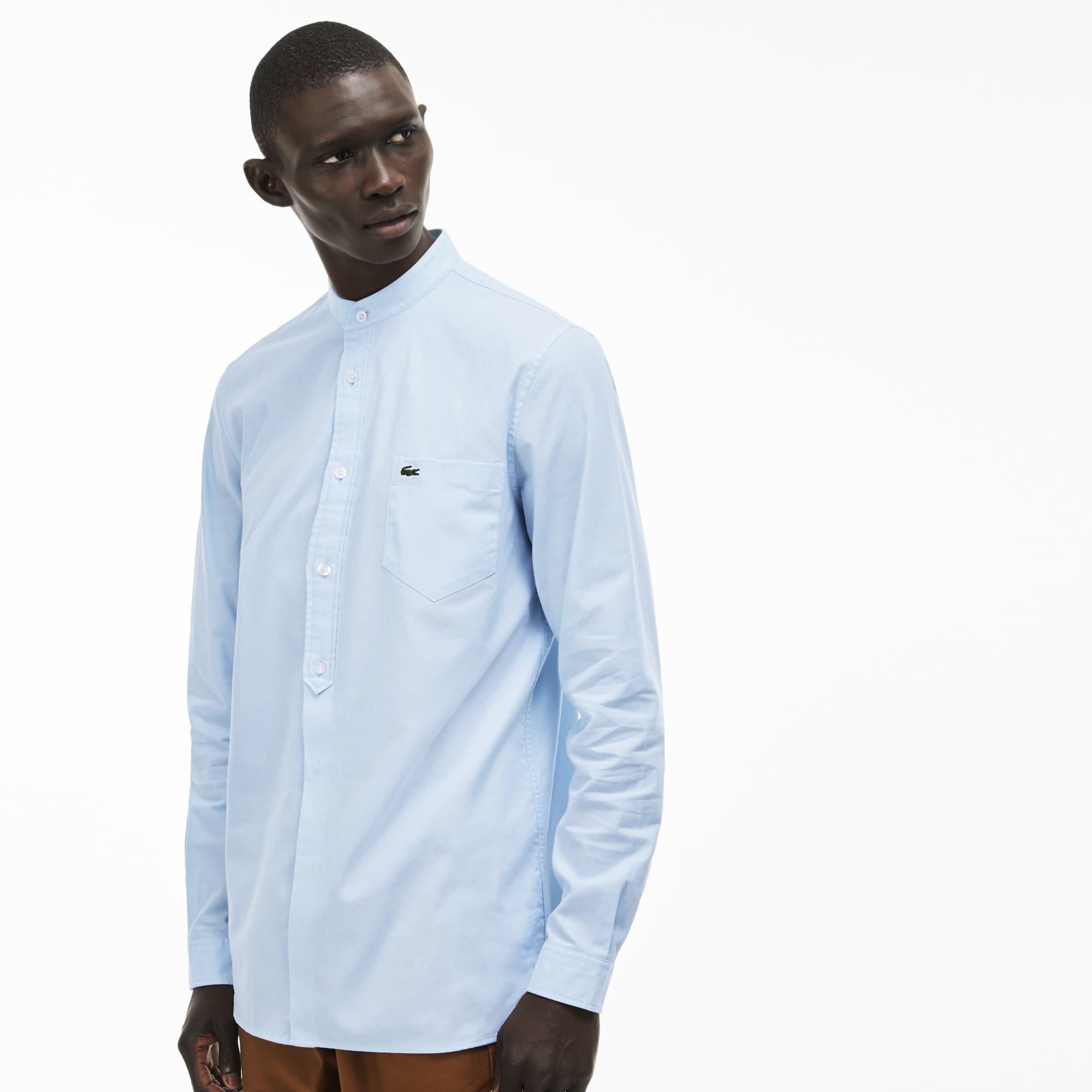 Camisa slim fit em cambraia de algodão unicolor