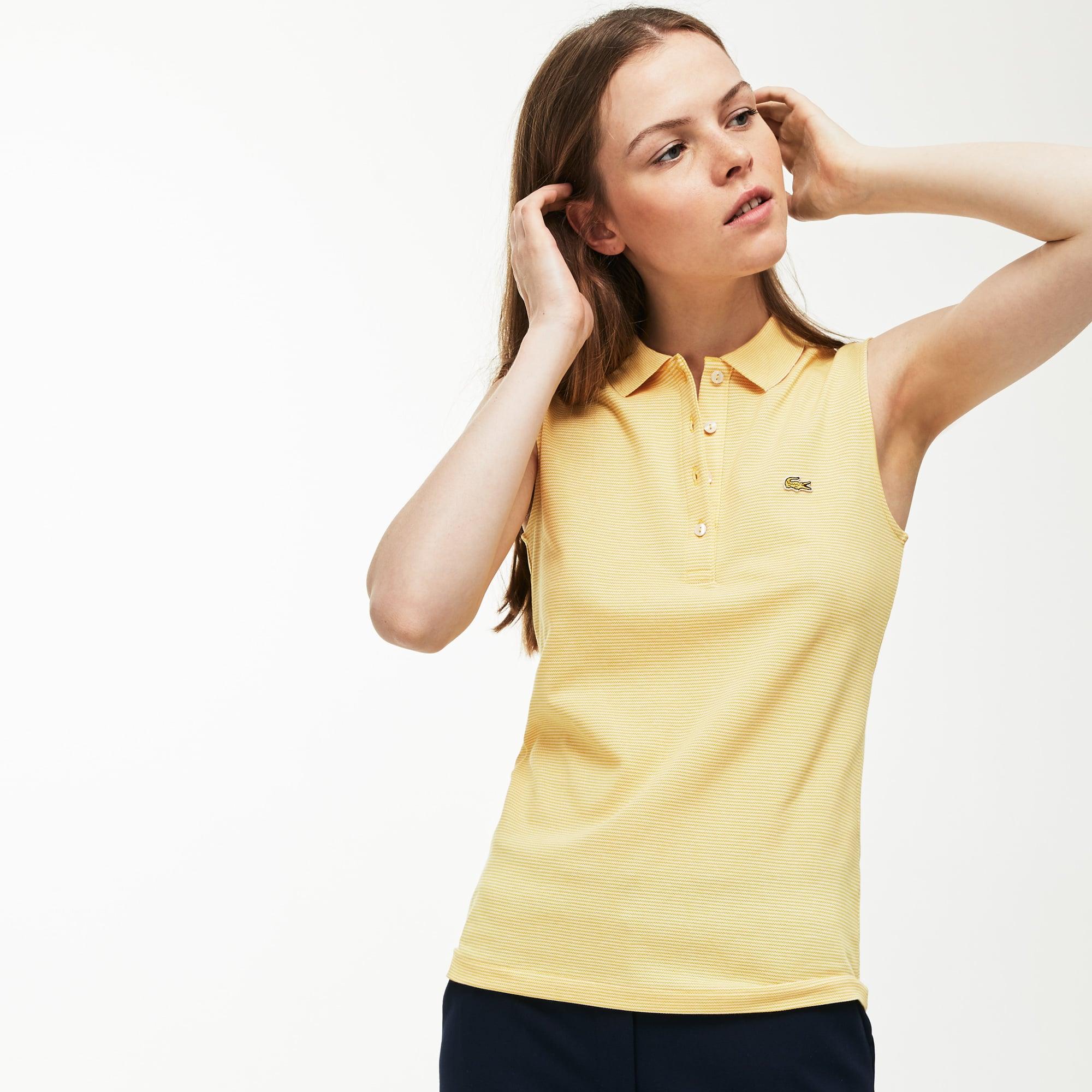 Polo slim fit sem mangas Lacoste em mini piqué stretch milleraies