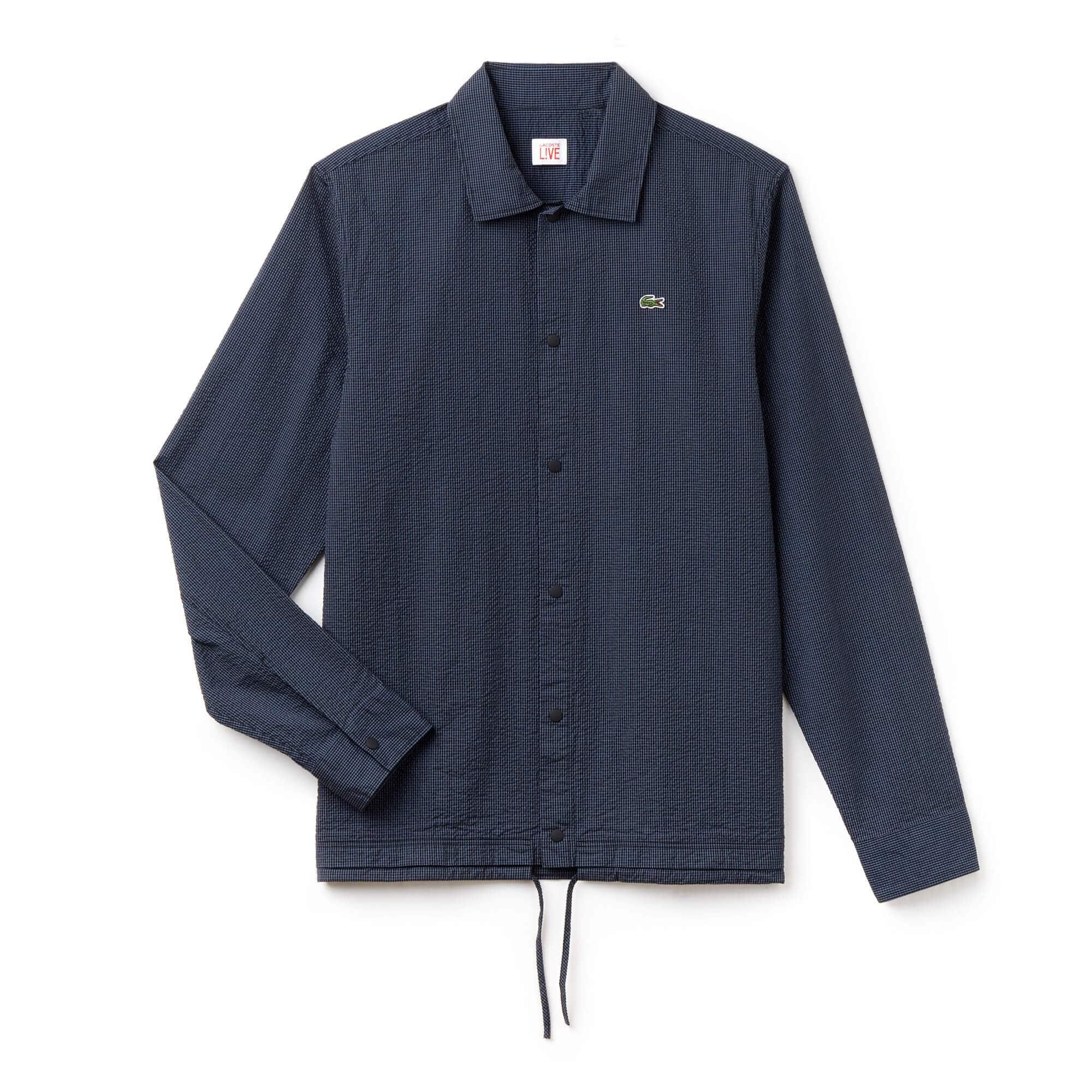 Camisa slim fit Lacoste LIVE em seersucker vichy