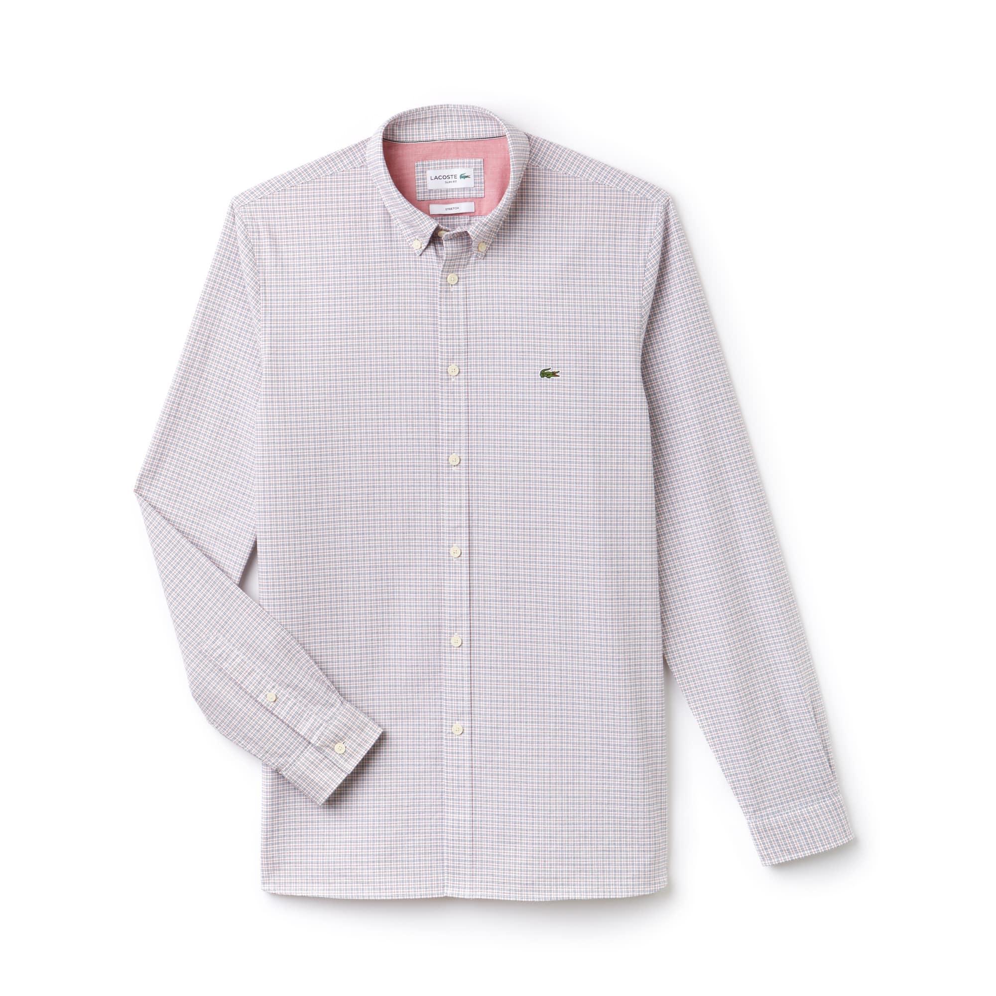 Camisa slim fit em algodão Oxford stretch aos quadrados
