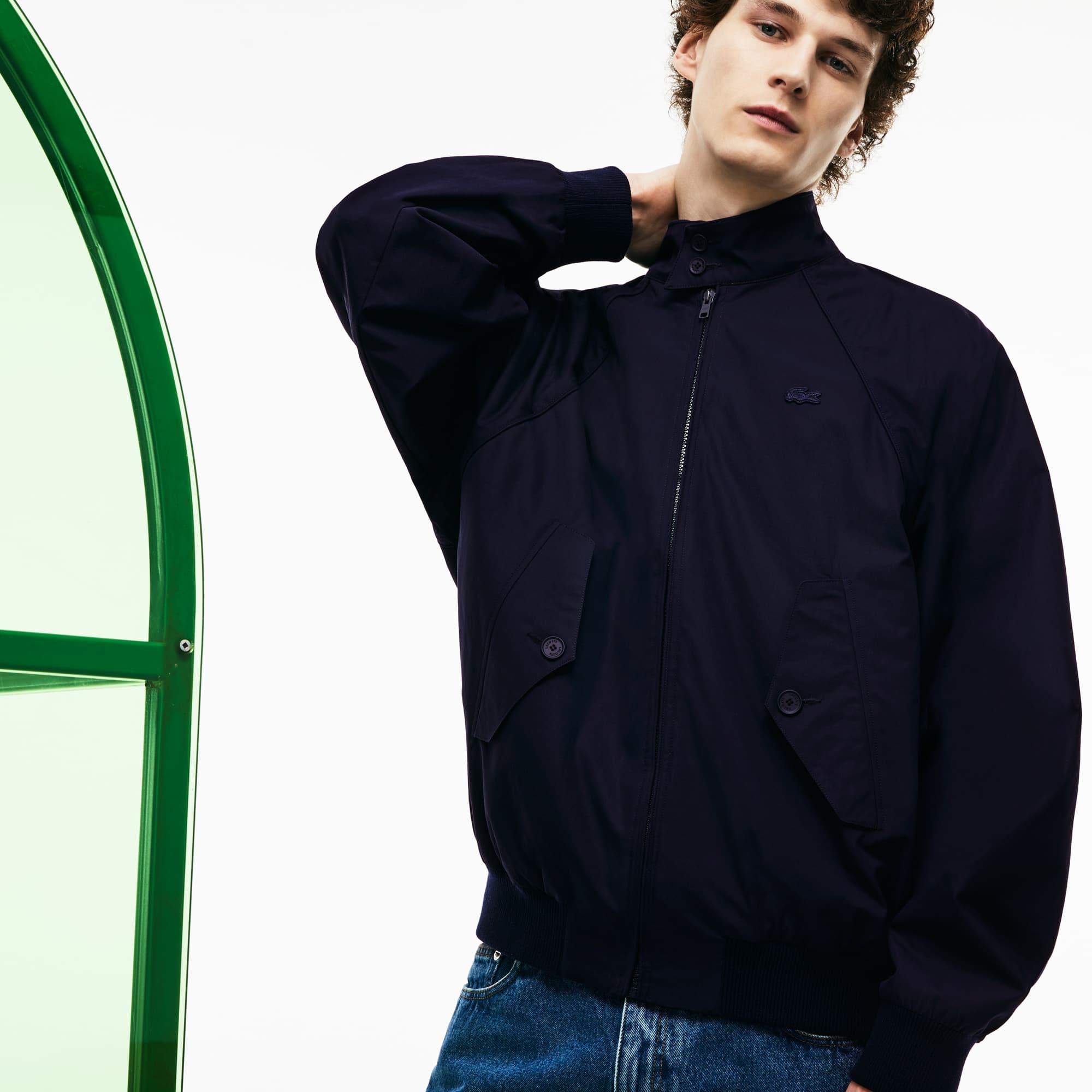 Blusão de tamanho grande com fecho de correr em lona de algodão Edição Desfile