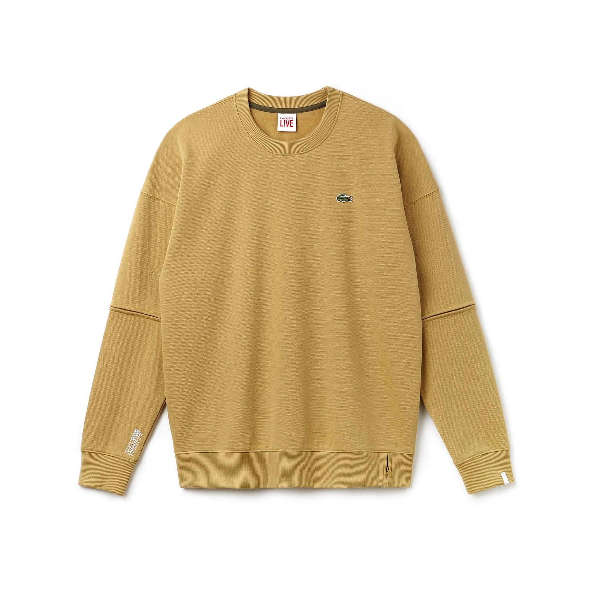 Sweatshirt larga Lacoste LIVE em moletão de piqué com mangas amovíveis