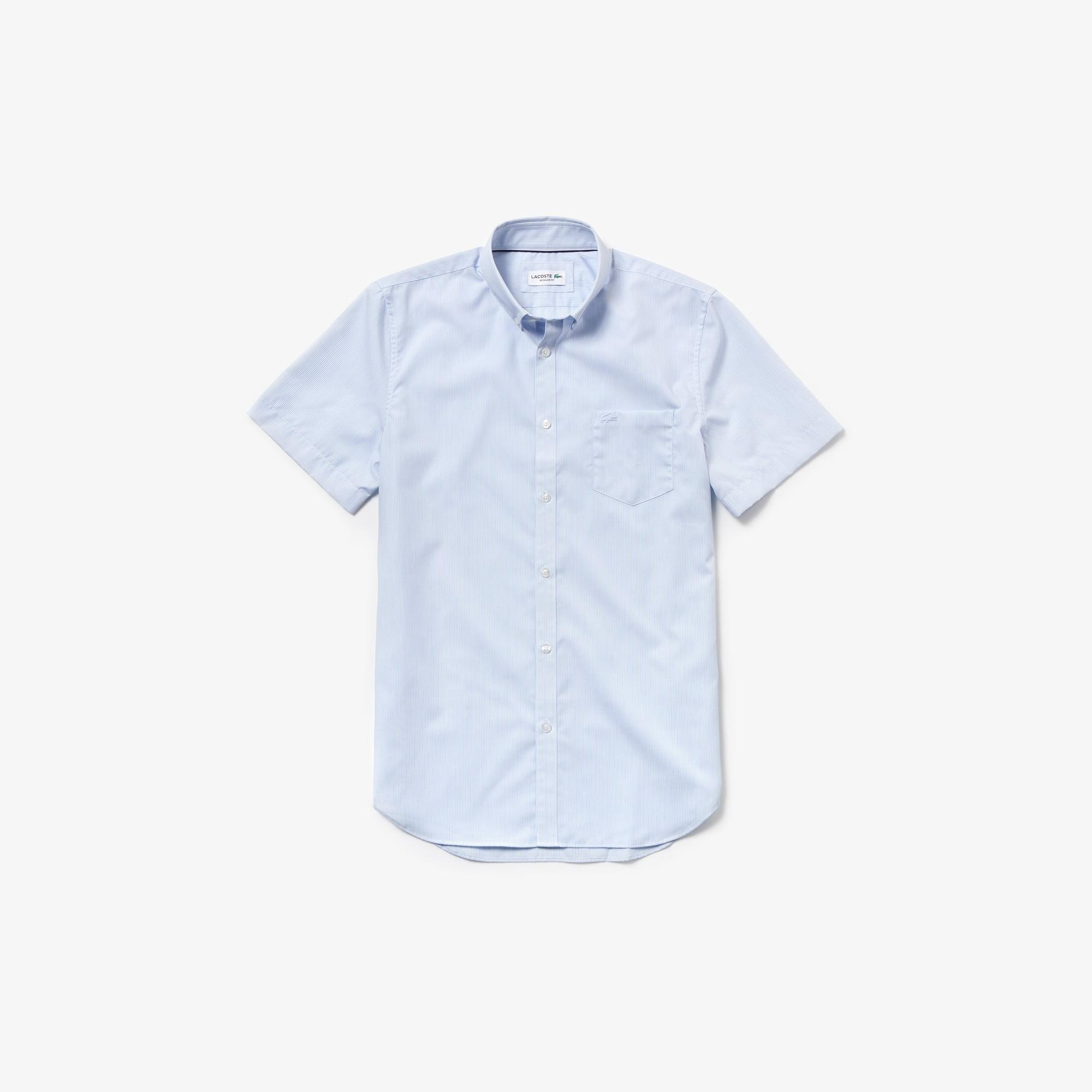 Camisa regular fit de manga curta em popelina de algodão às riscas