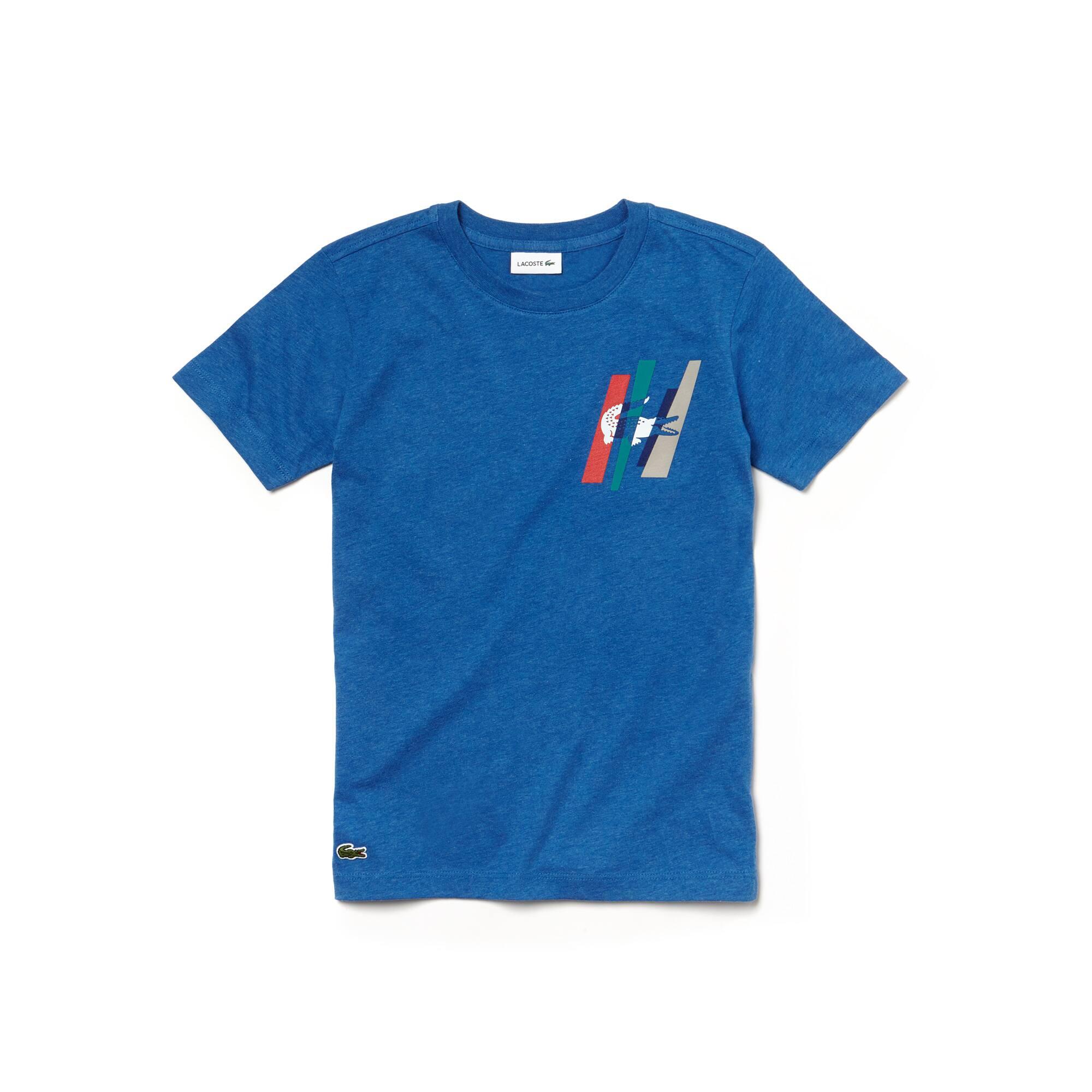T-shirt Menino decote redondo em jersey unicolor com marcação