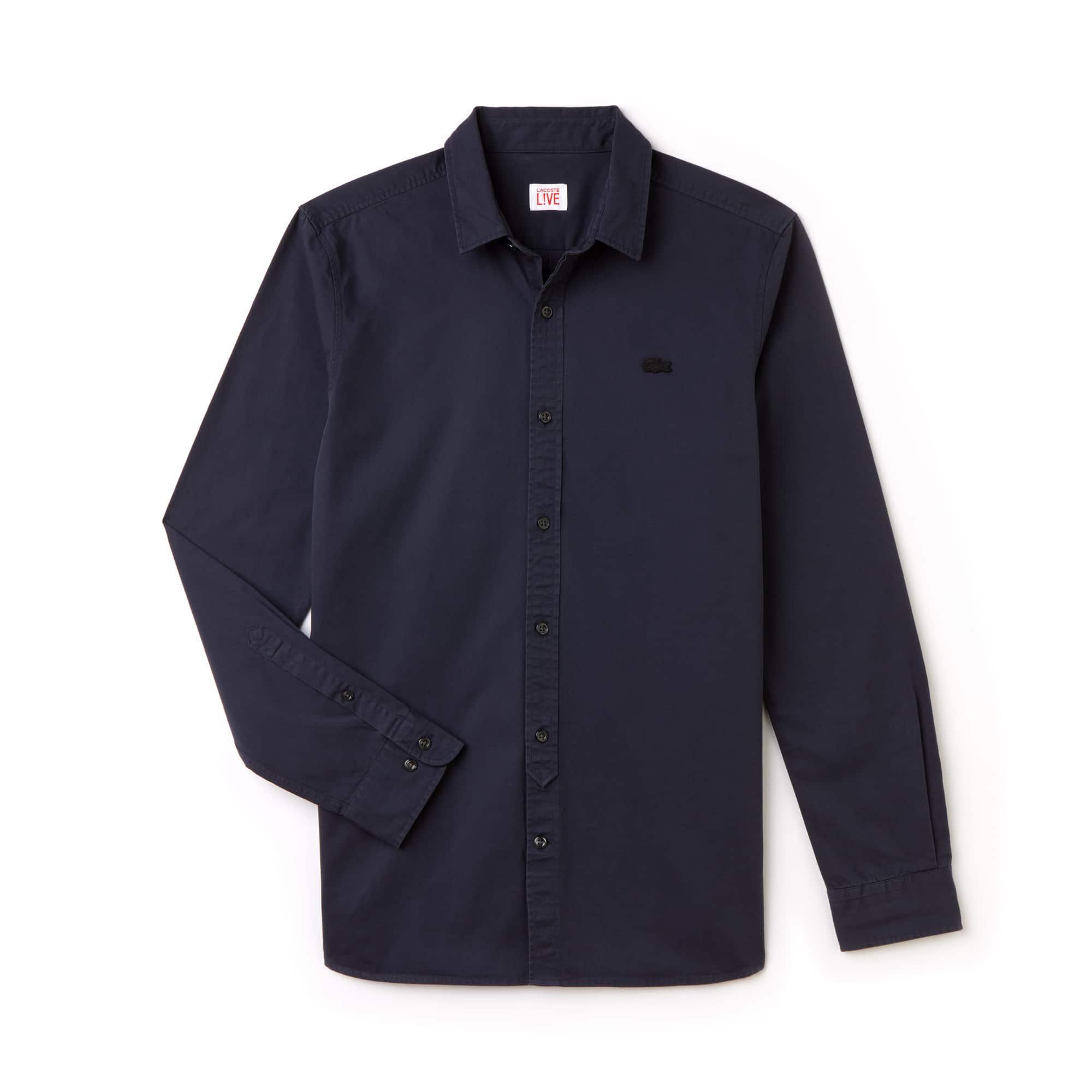 Camisa Skinny fit Lacoste LIVE em popelina de algodão unicolor