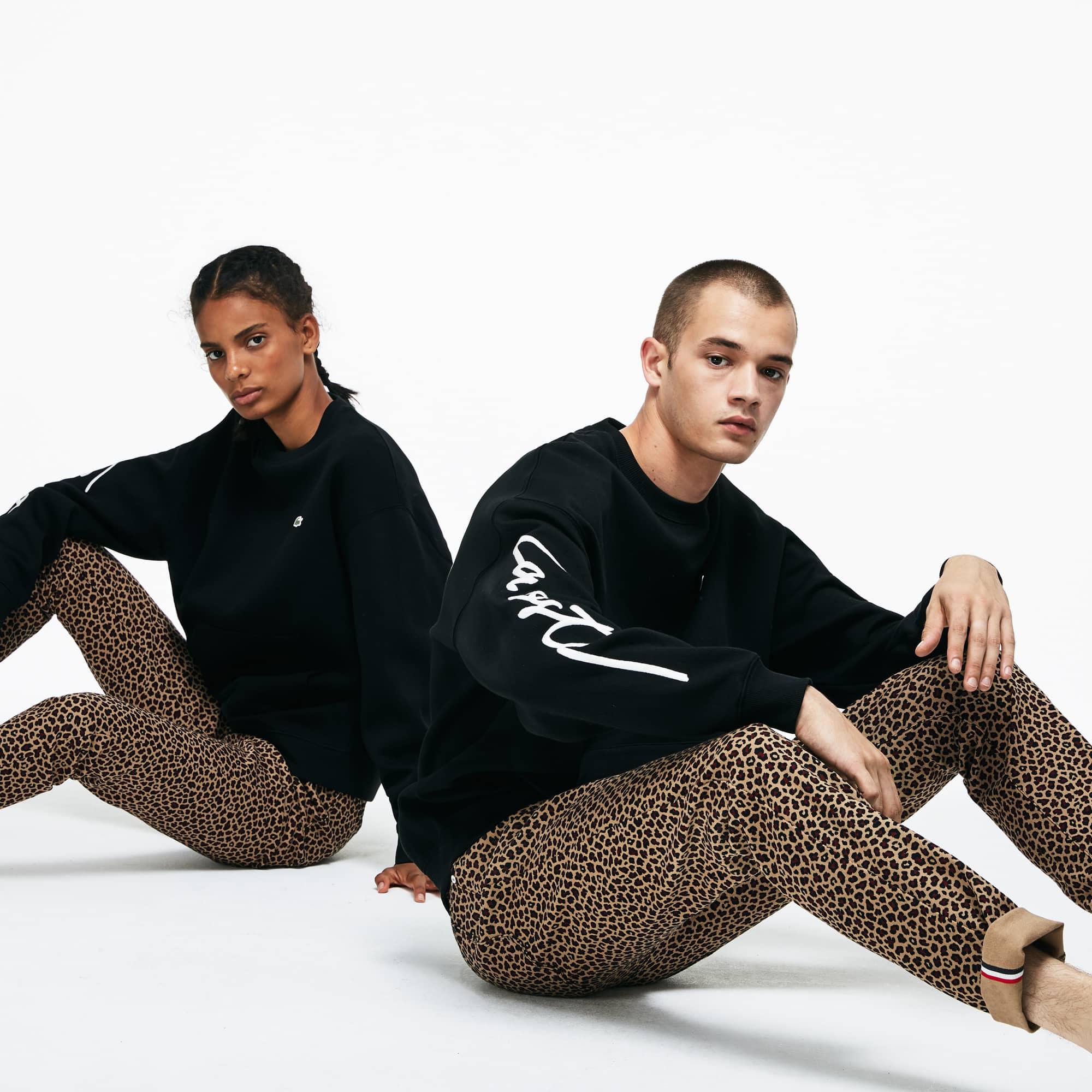 Sweatshirt decote redondo unissexo Lacoste LIVE em moletão com bordado