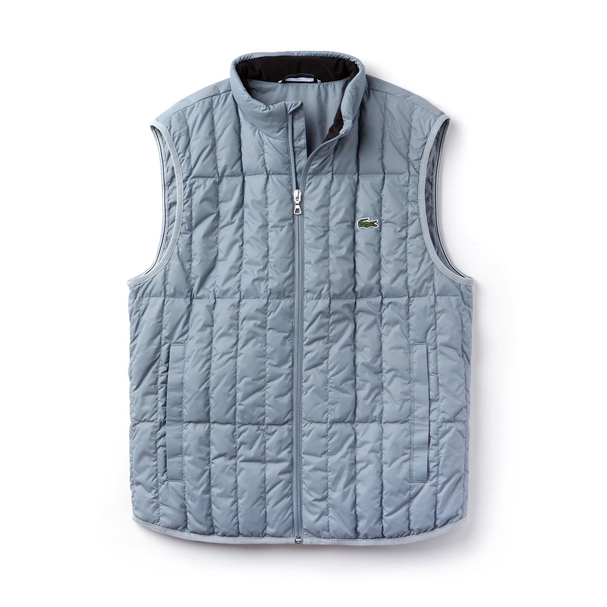 Blusão acolchoado sem mangas com capuz integrado na gola