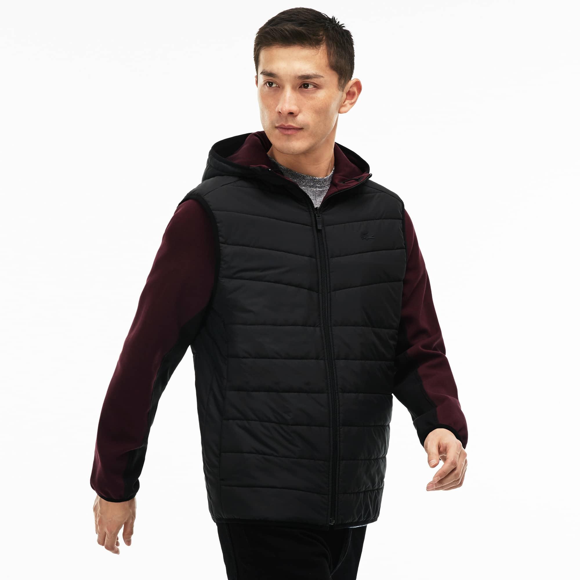 Sweatshirt com fecho de correr e capuz em jersey acolchoado bicolor