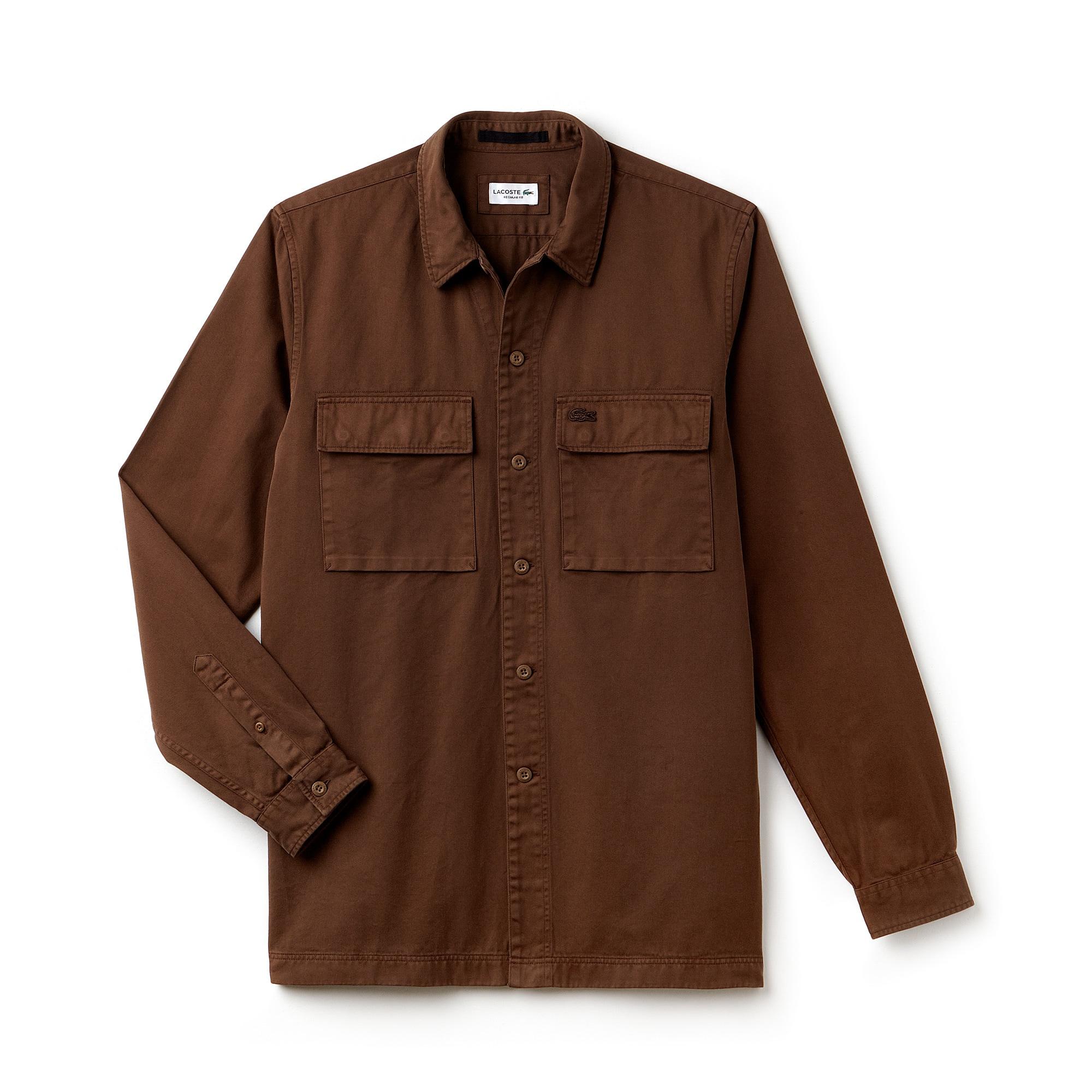 Camisa relax fit em twill de algodão efeito desbotado