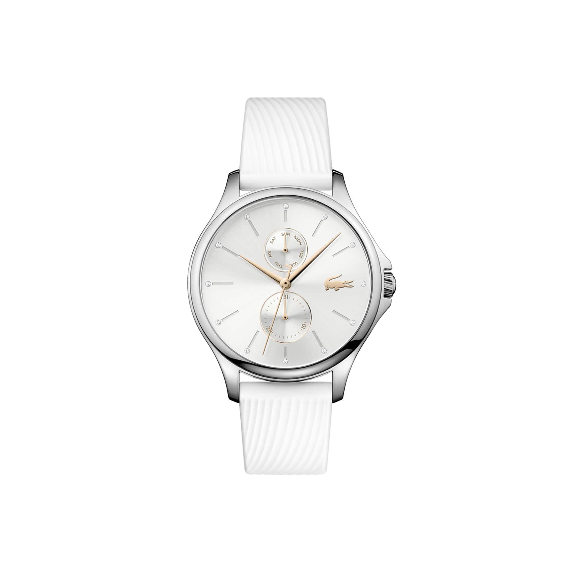 Relógio multifunções Kea de mulher com bracelete de silicone branca