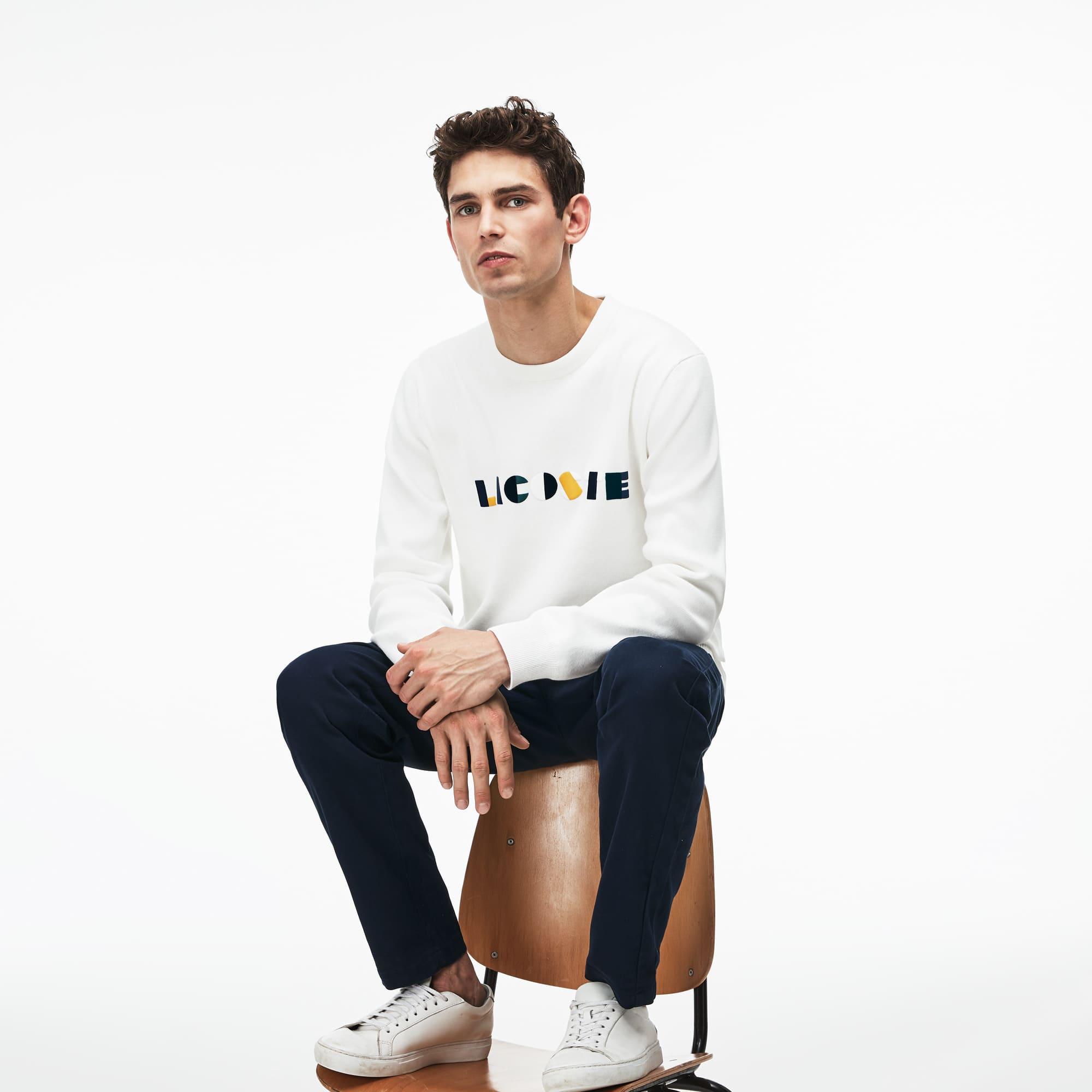 Camisola de decote redondo em algodão Pima canelado com marcação Lacoste