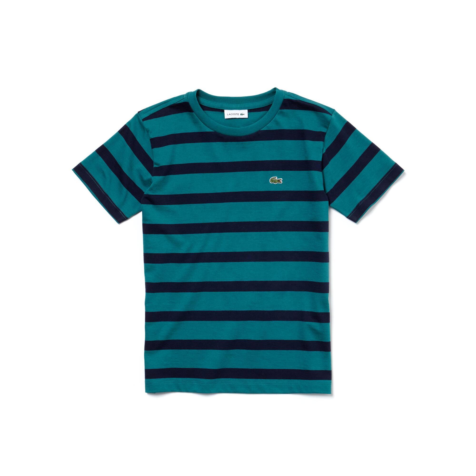 T-shirt Menino em jersey de algodão às riscas