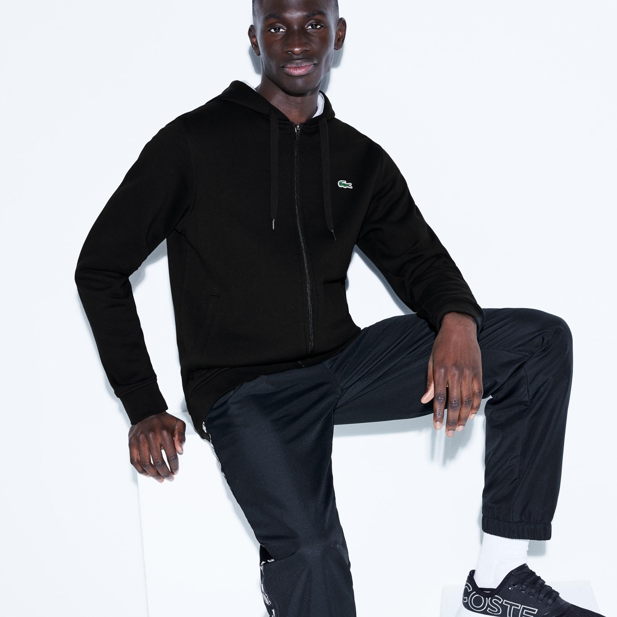 Sweatshirt com fecho de correr e capuz Lacoste SPORT em moletão unicolor