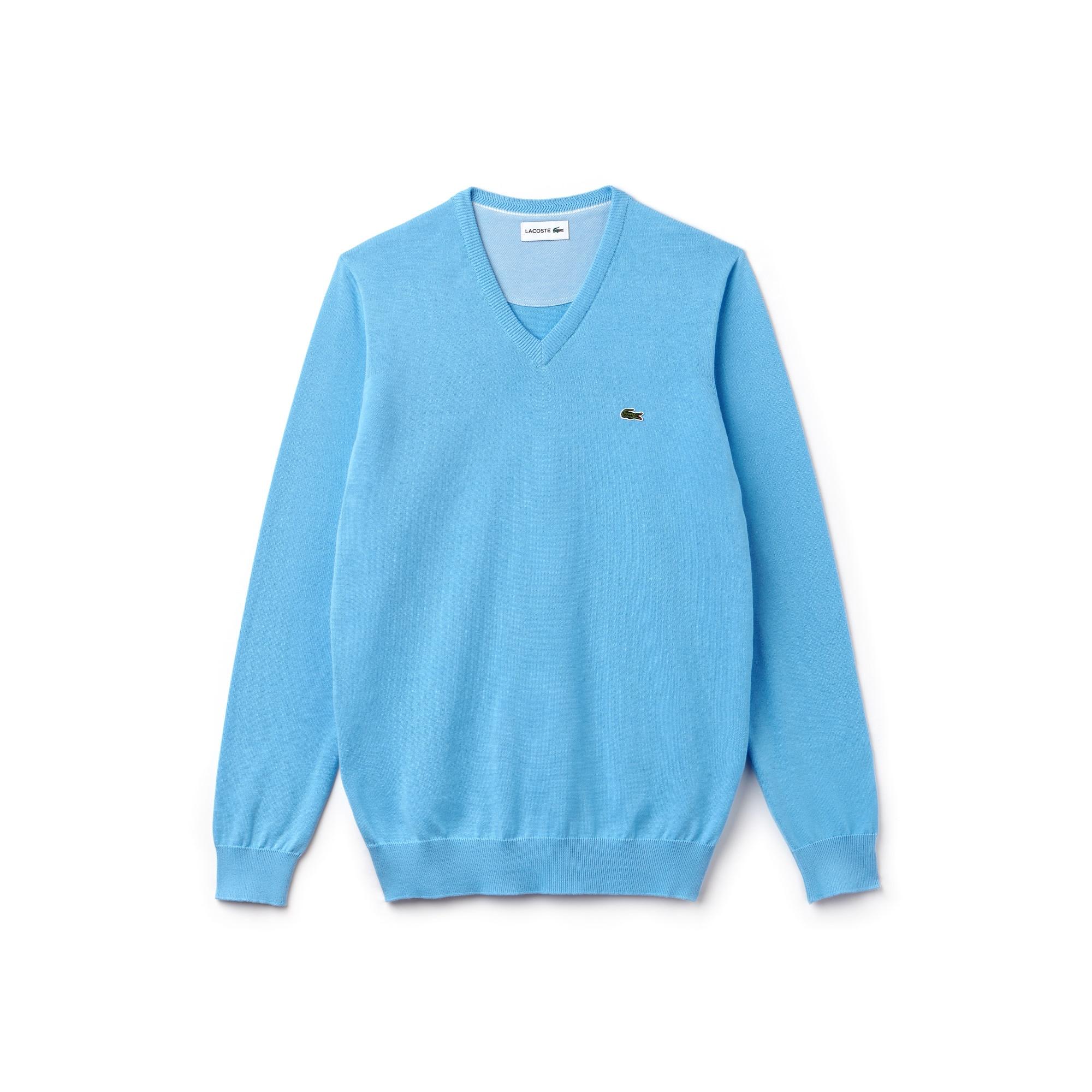 Camisola decote em V em jersey de algodão unicolor e detalhes em piqué caviar