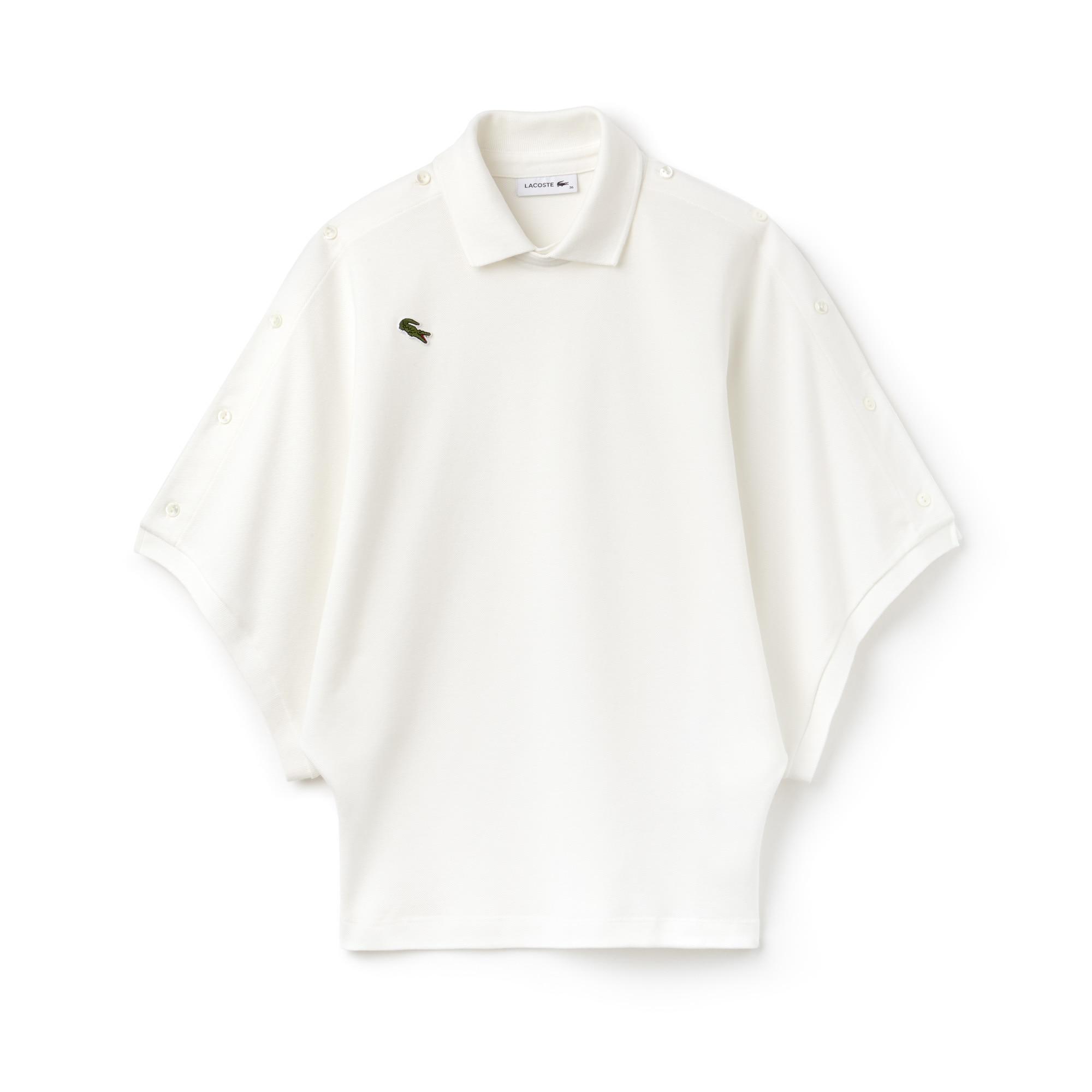 Polo loose fit Lacoste com mangas com botões em piqué de algodão Edição Desfile