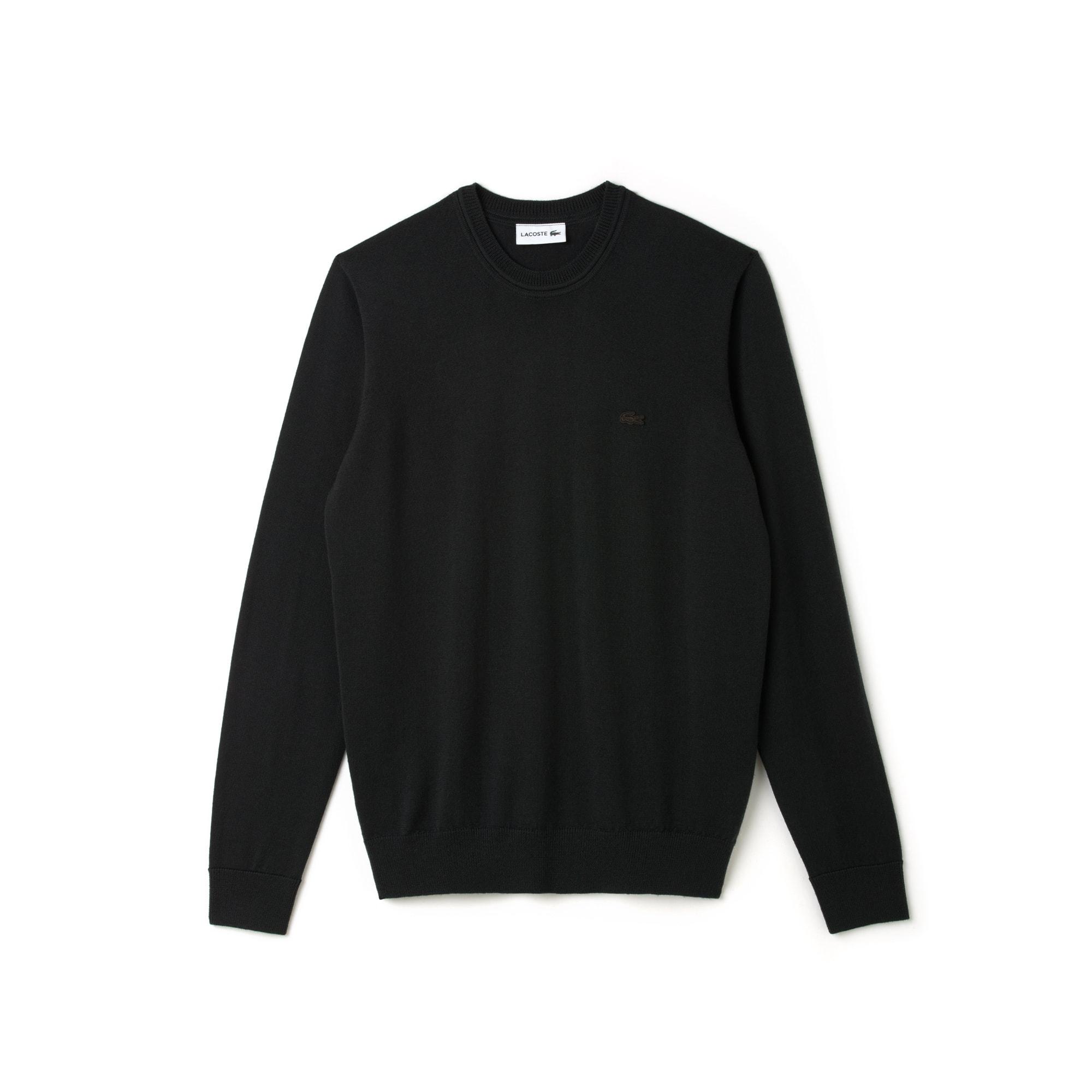 Camisola decote rente ao pescoço em jersey de lã unicolor