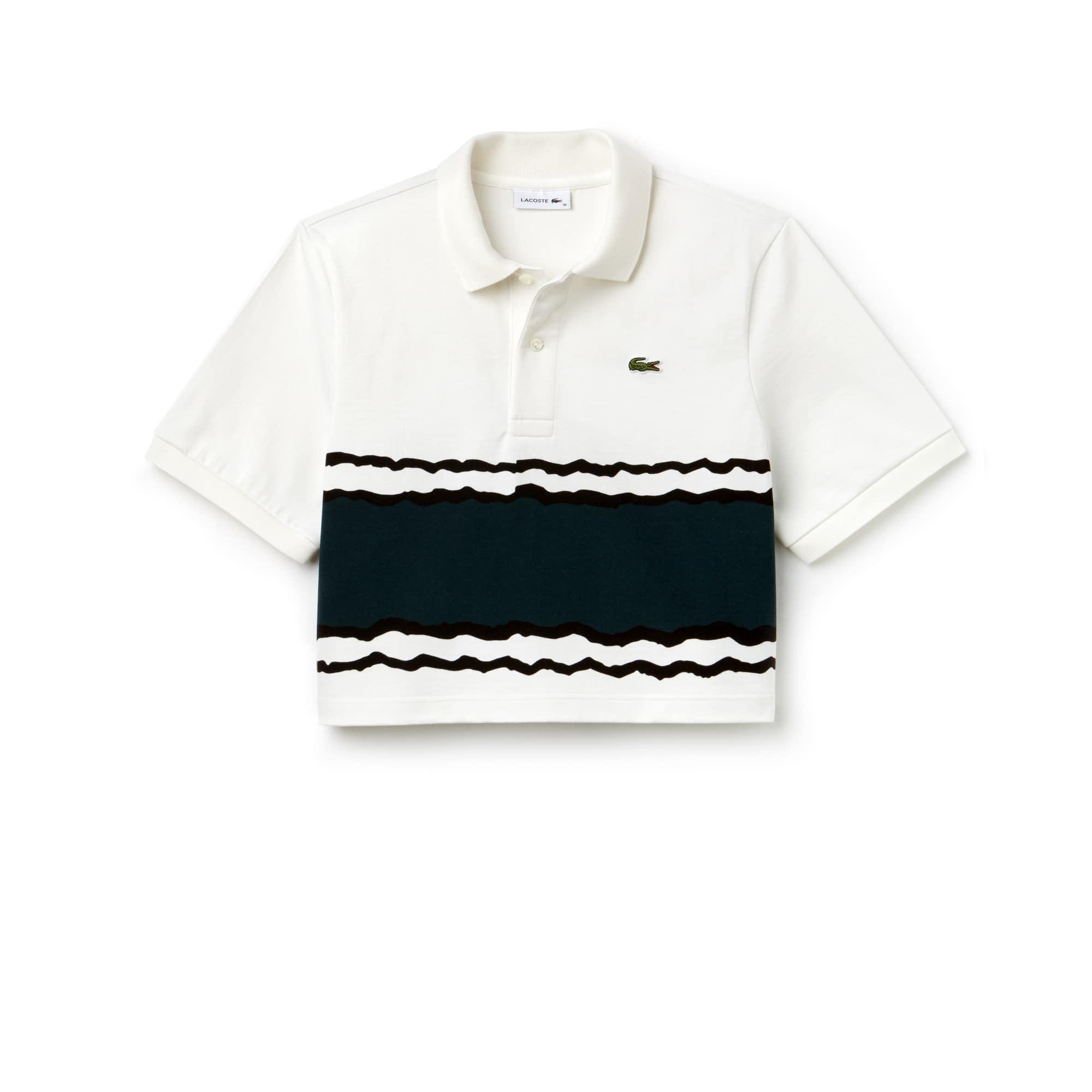 Polo crop fit Lacoste em jersey de algodão às riscas Edição Desfile