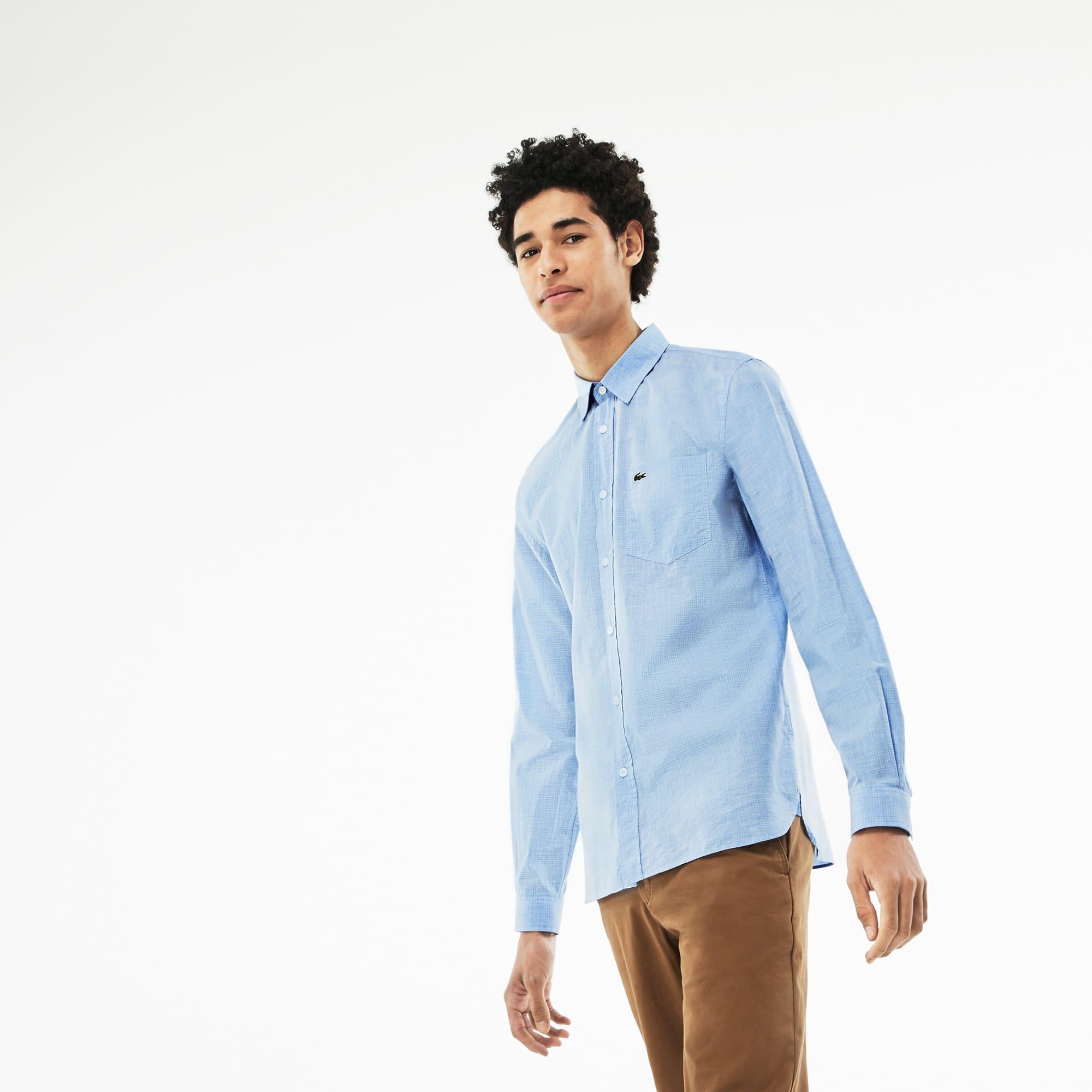 Camisa slim fit em popelina de algodão aos quadrados