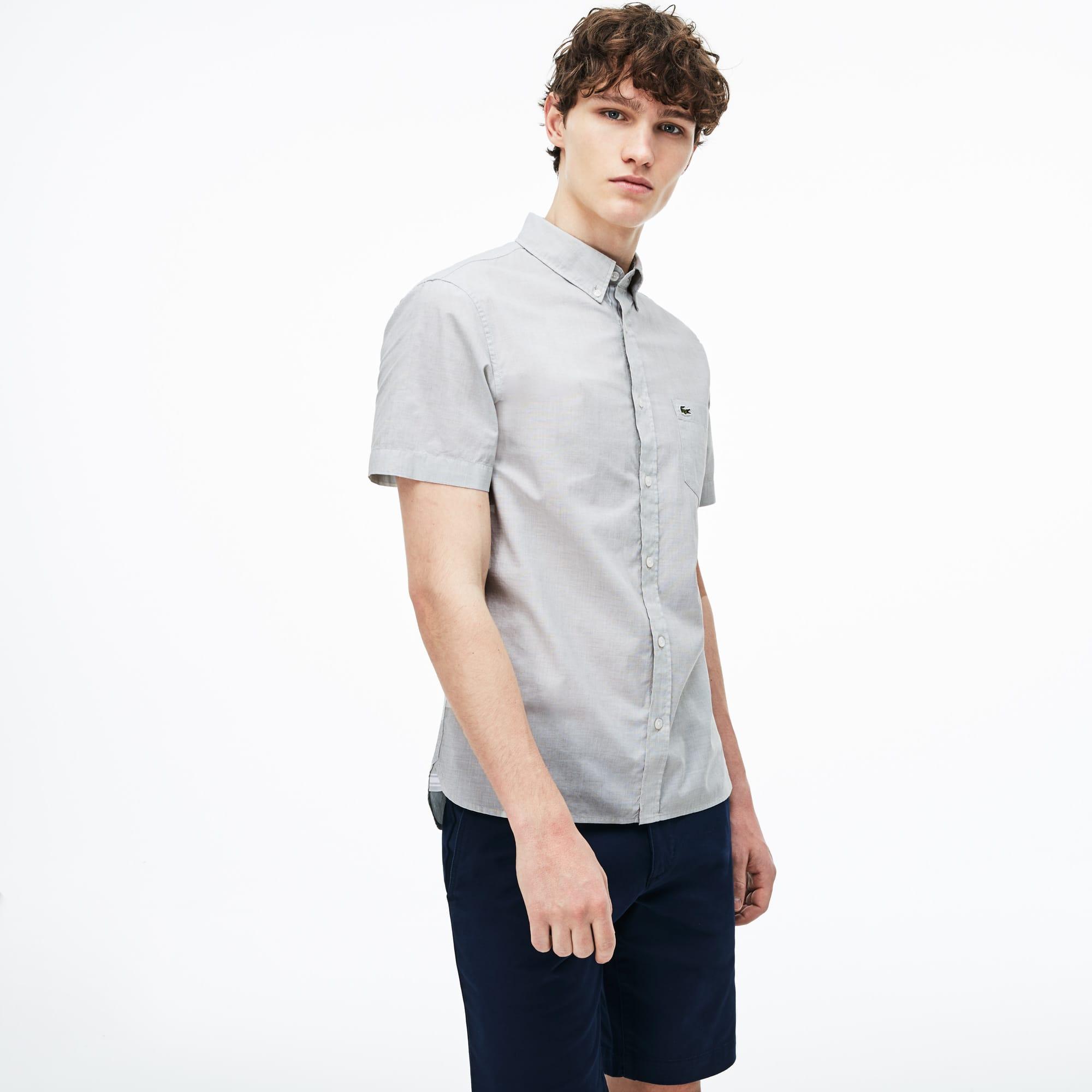 Camisa slim fit de manga curta em algodão fil-à-fil unicolor