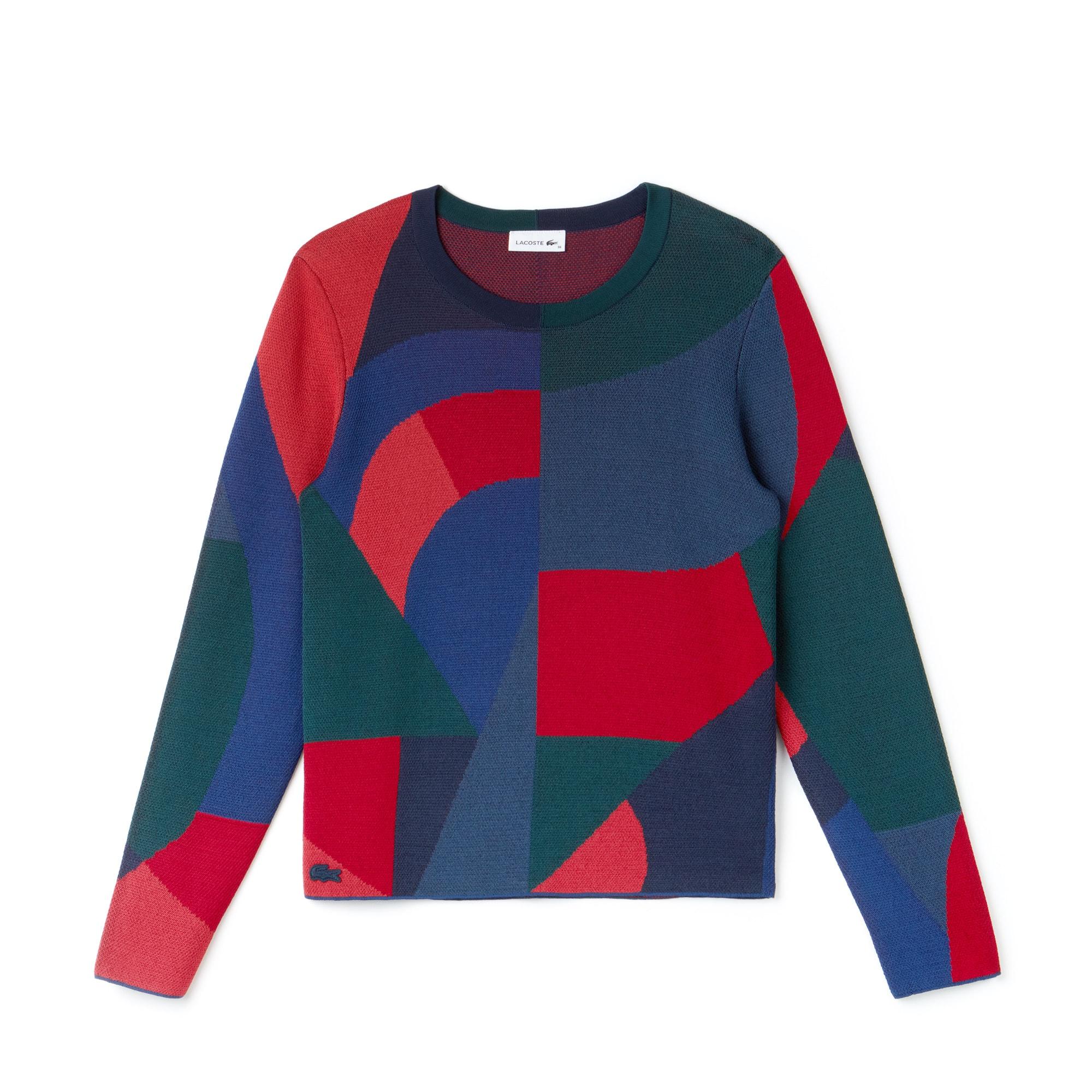 Camisola decote redondo em jacquard com impressão color block