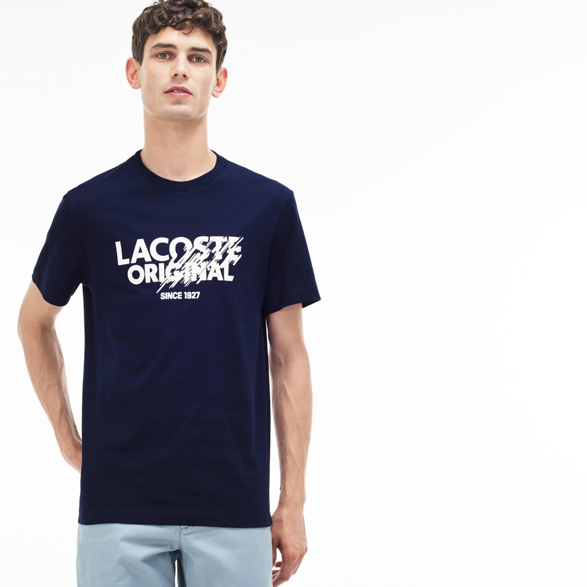 T-shirt decote redondo em jersey com inscrição Lacoste Original
