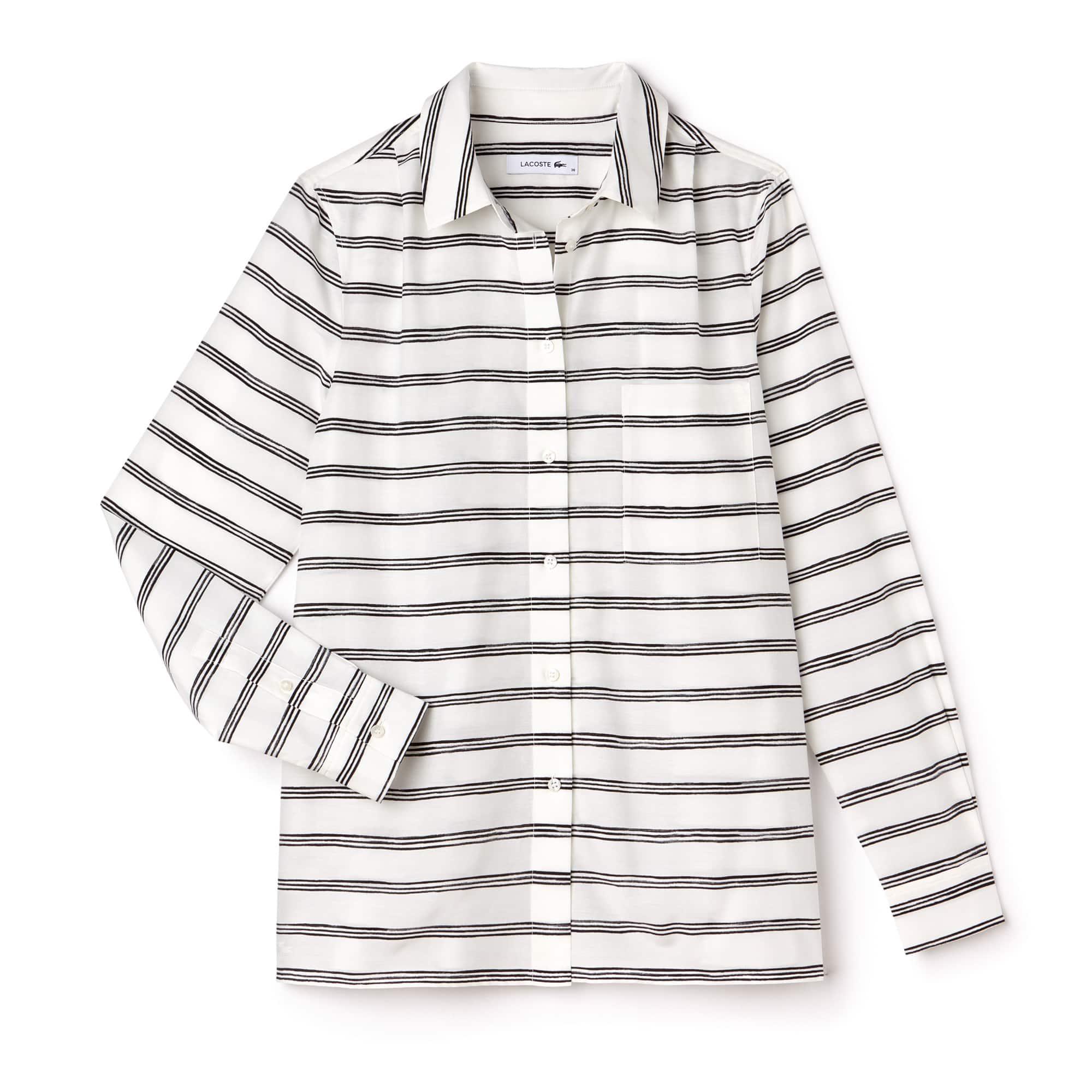 Camisa regular fit em voile de algodão e seda às riscas