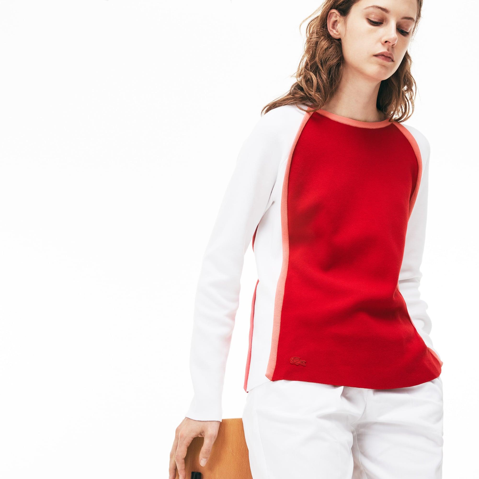 Camisola decote redondo Made in France em interlock de algodão color block