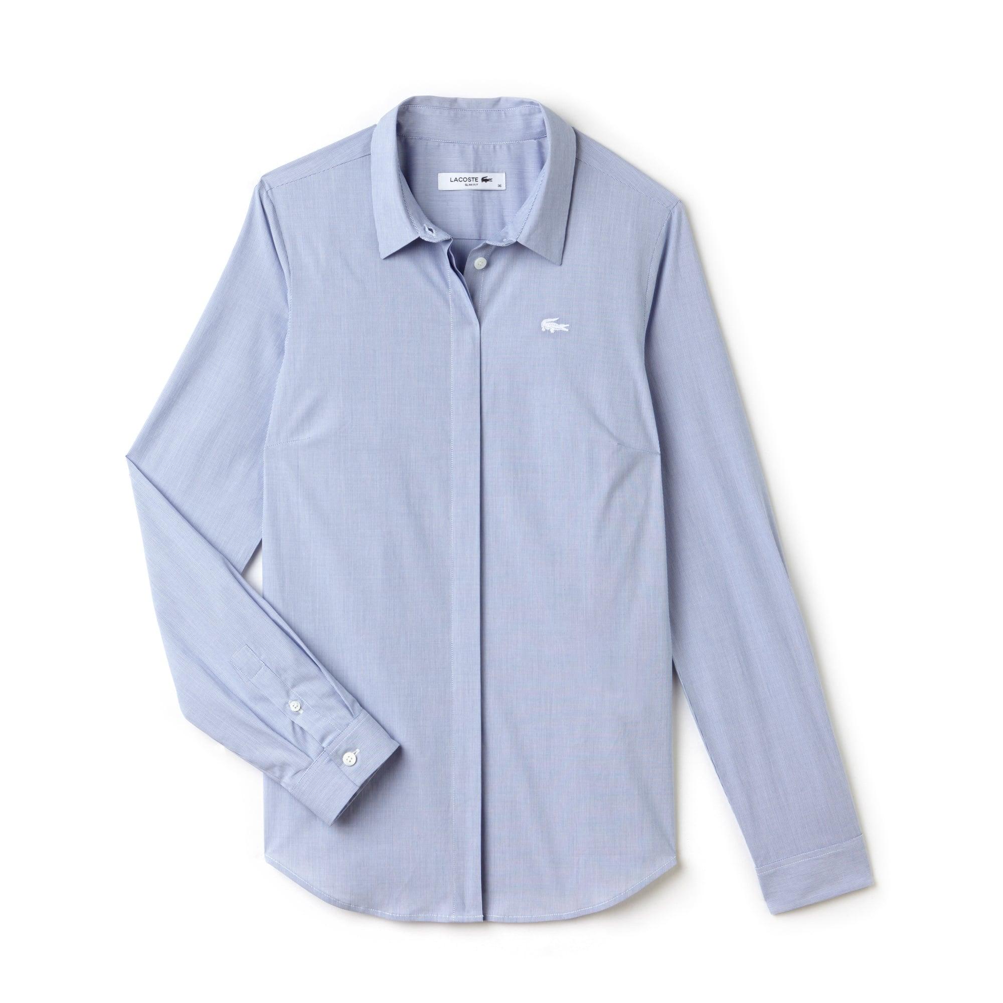 Camisa slim fit em popelina de algodão stretch às riscas
