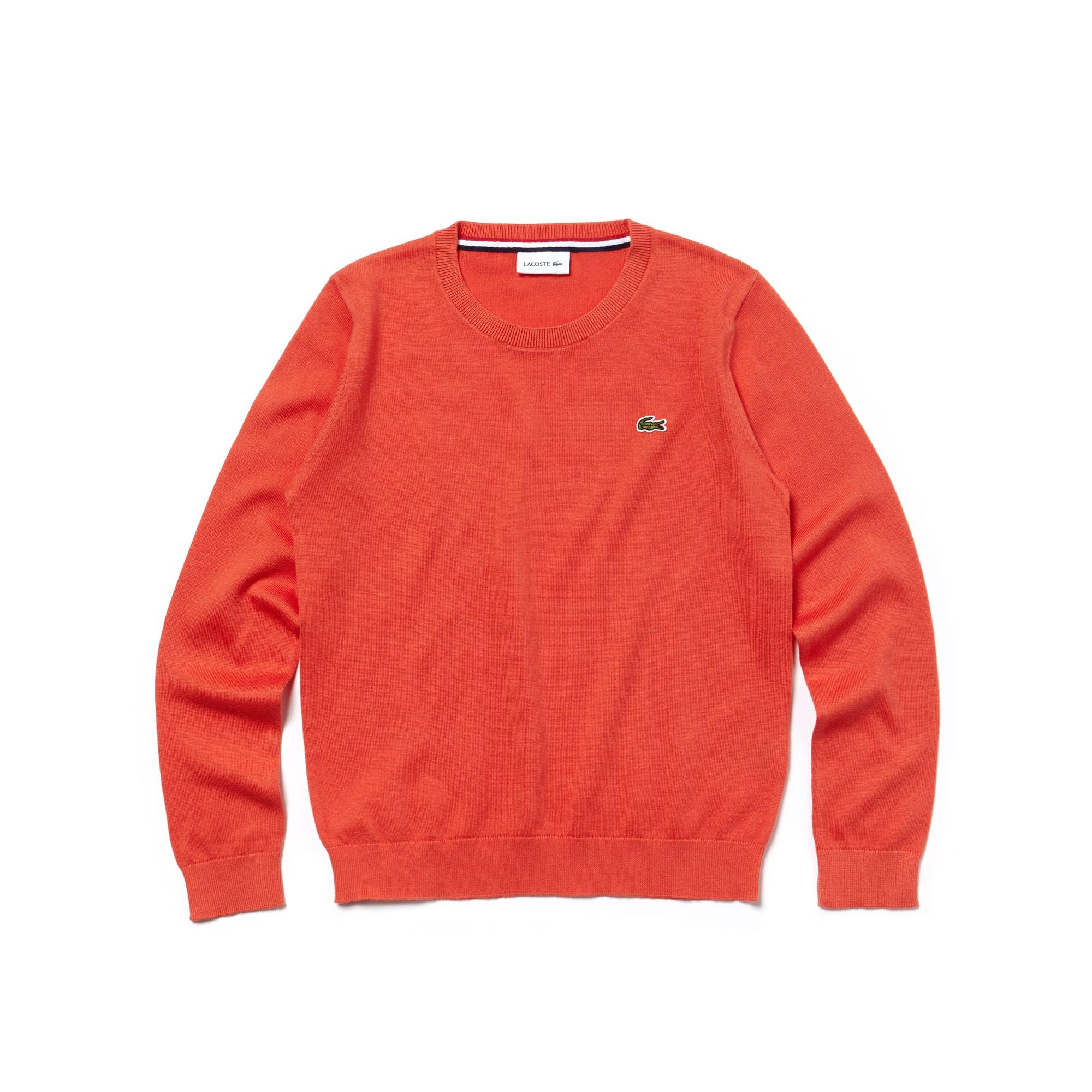 Camisola Menino decote redondo em jersey de algodão unicolor