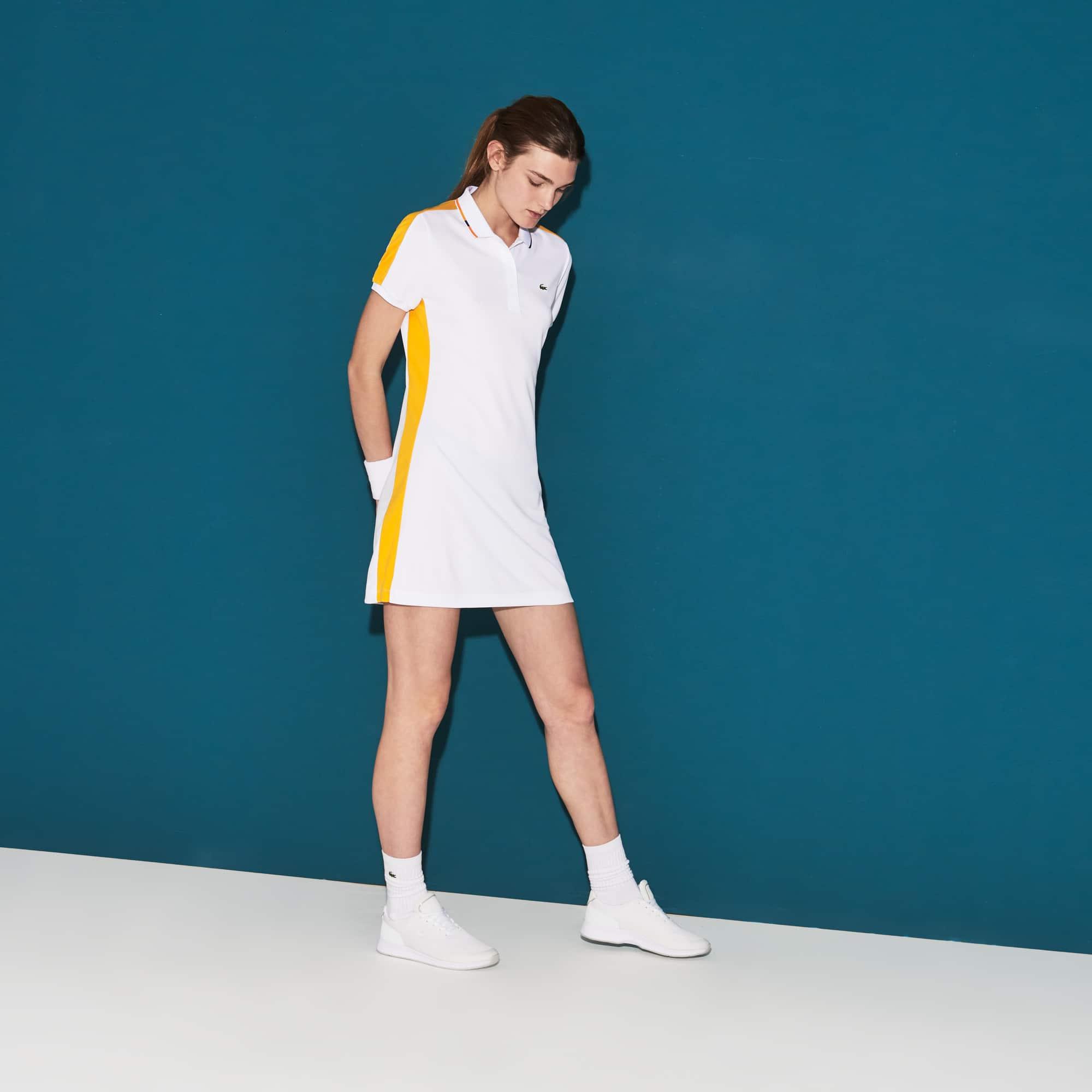 Vestido polo Tennis Lacoste SPORT em piqué técnico com faixas a contrastar