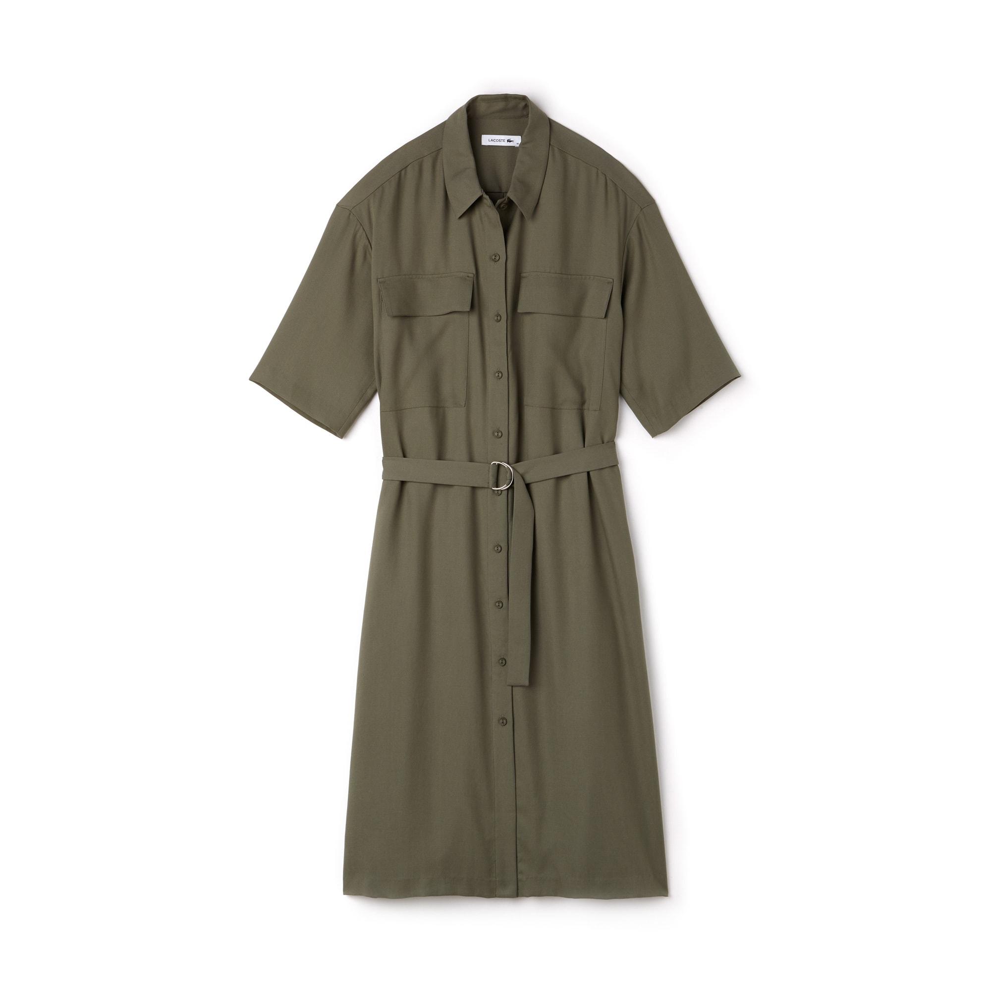 Vestido camisa cintado com mangas três quartos em piqué unicolor