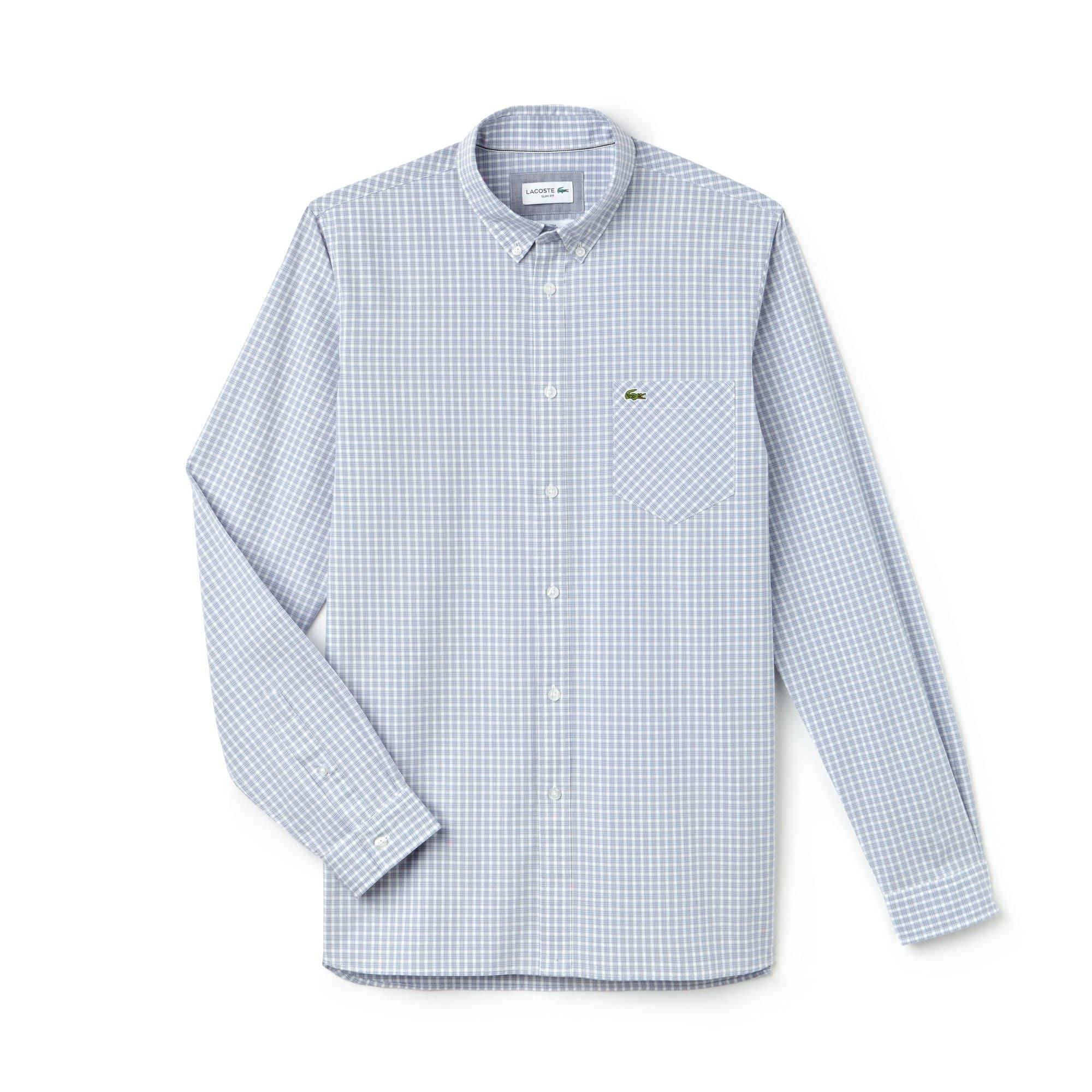 Camisa slim fit em popelina de algodão stretch aos quadrados bicolores