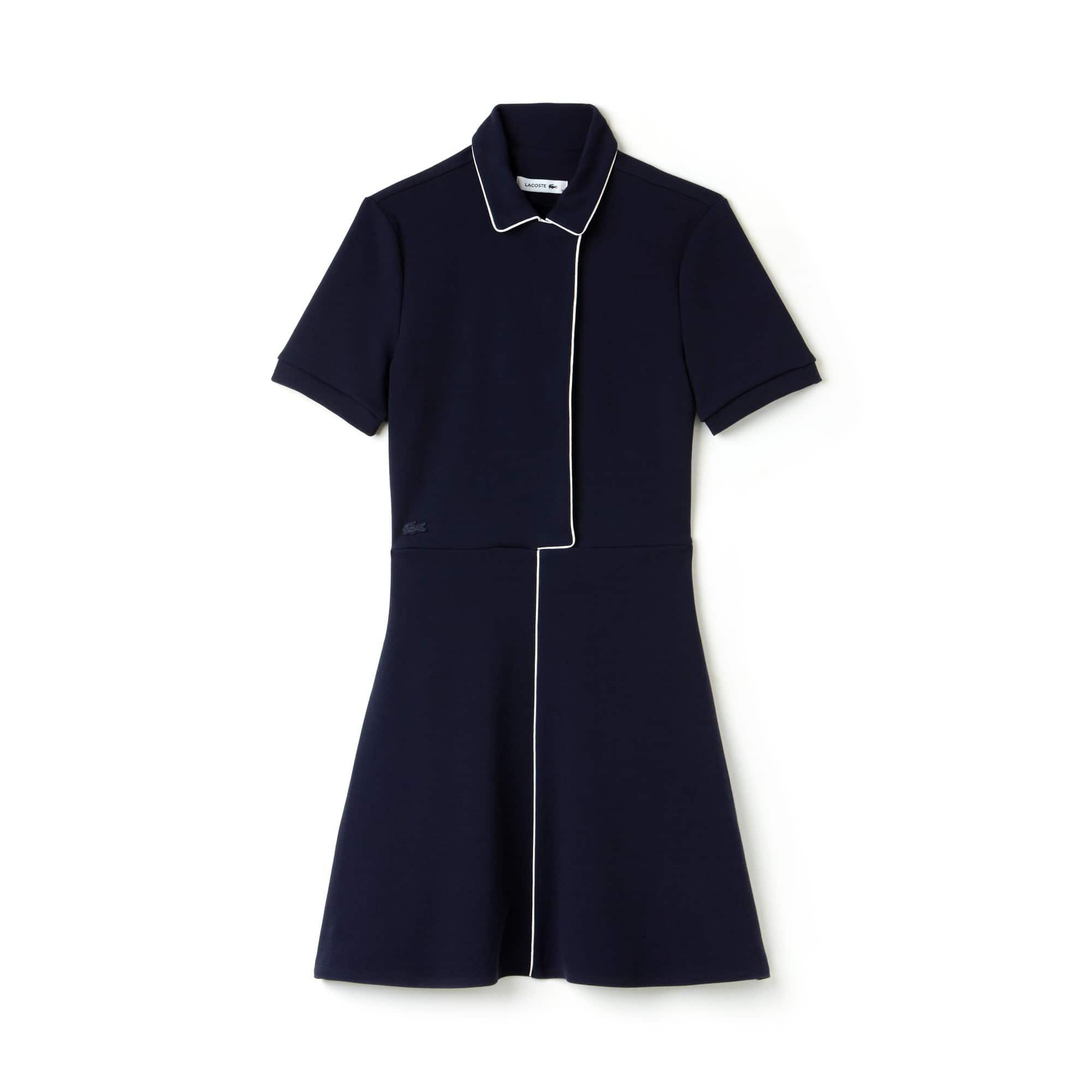 Vestido cintado de corte largo em interlock de algodão com debruado