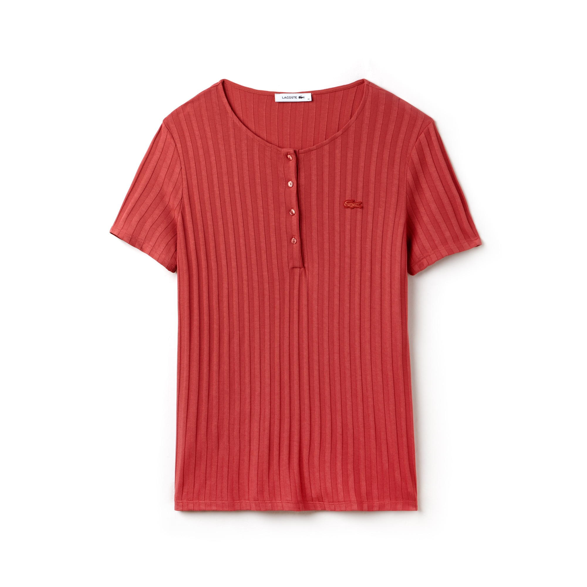 T-shirt gola henley em malha canelada unicolor